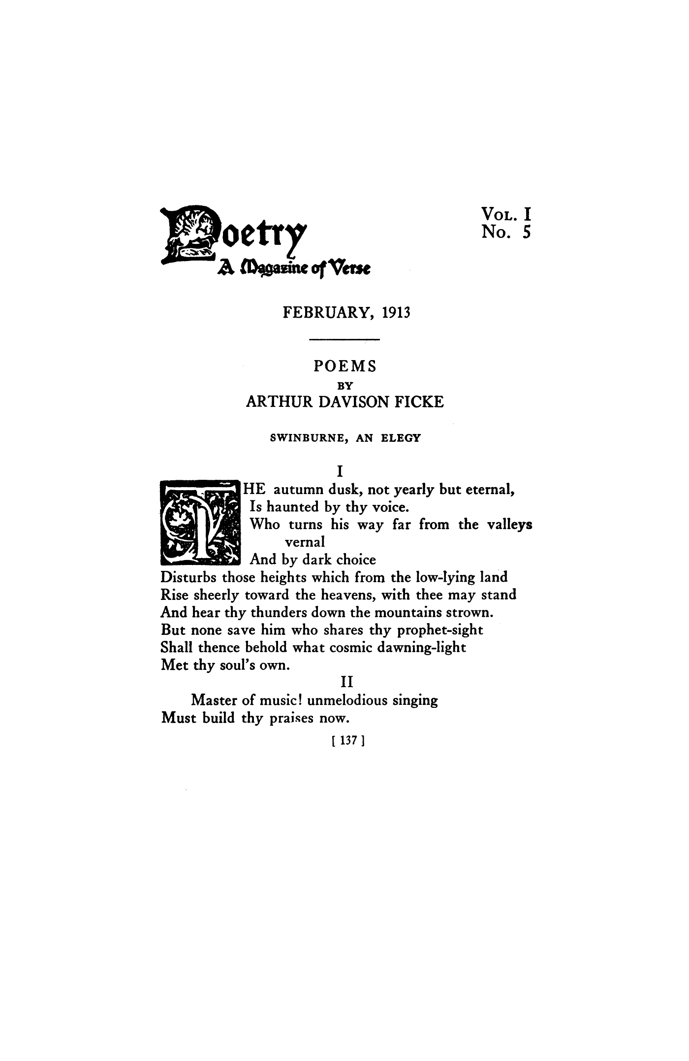 Swinburne An Elegy By Arthur Davison Ficke Poetry Magazine