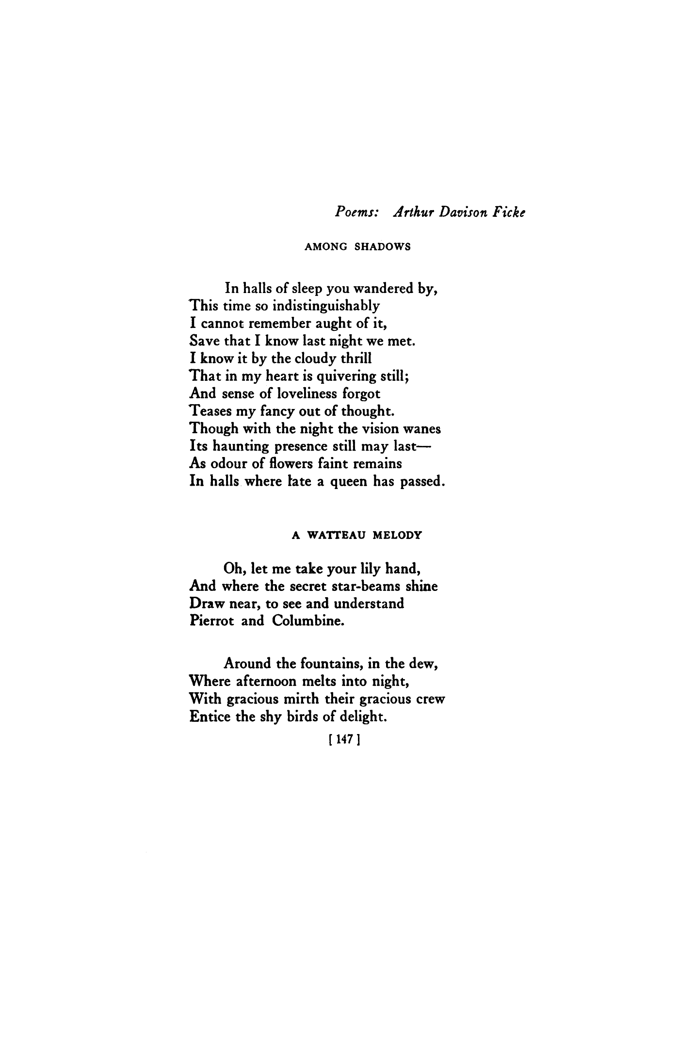 Among Shadows By Arthur Davison Ficke A Watteau Poetry Magazine