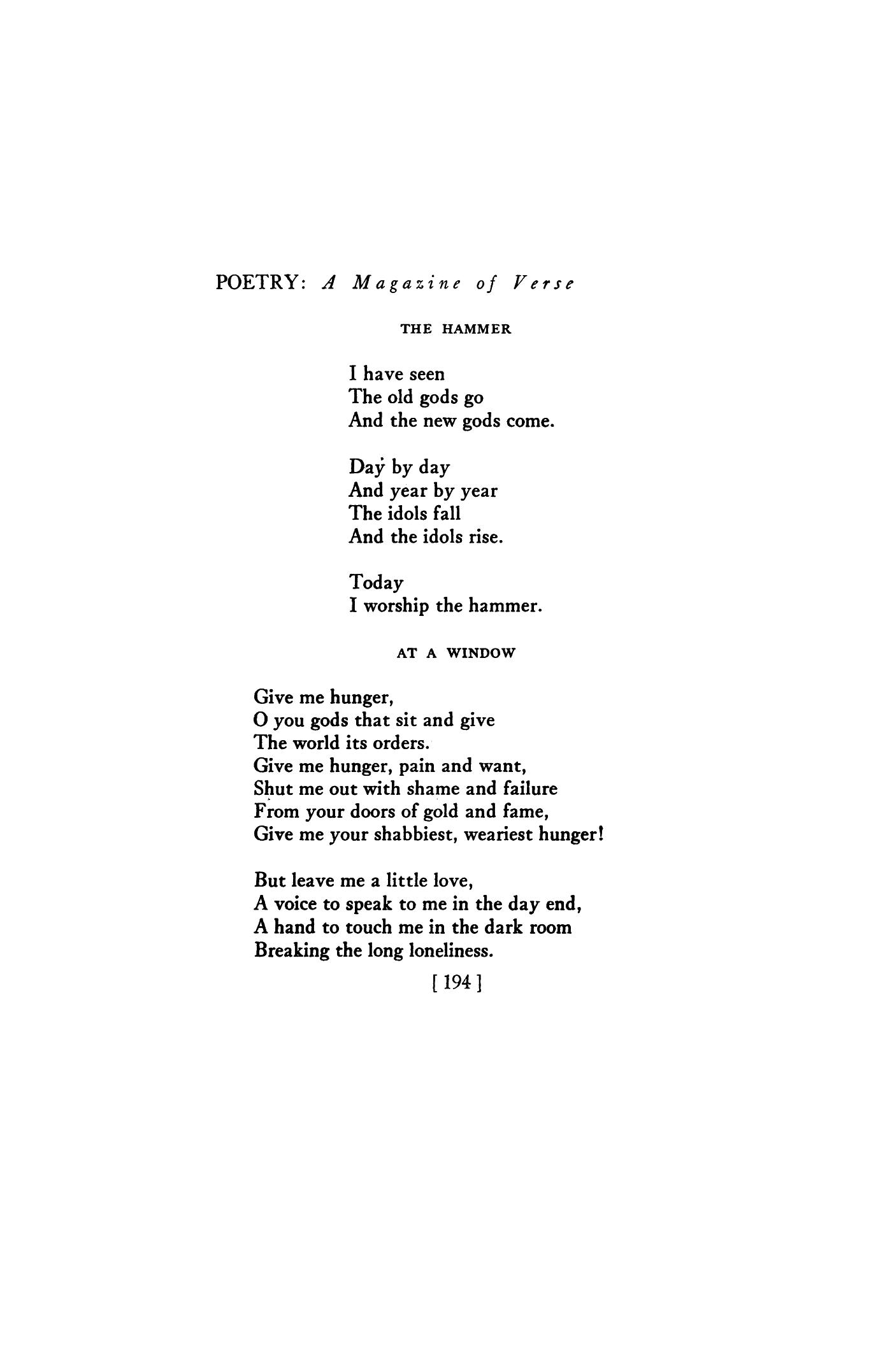 at a window poem analysis