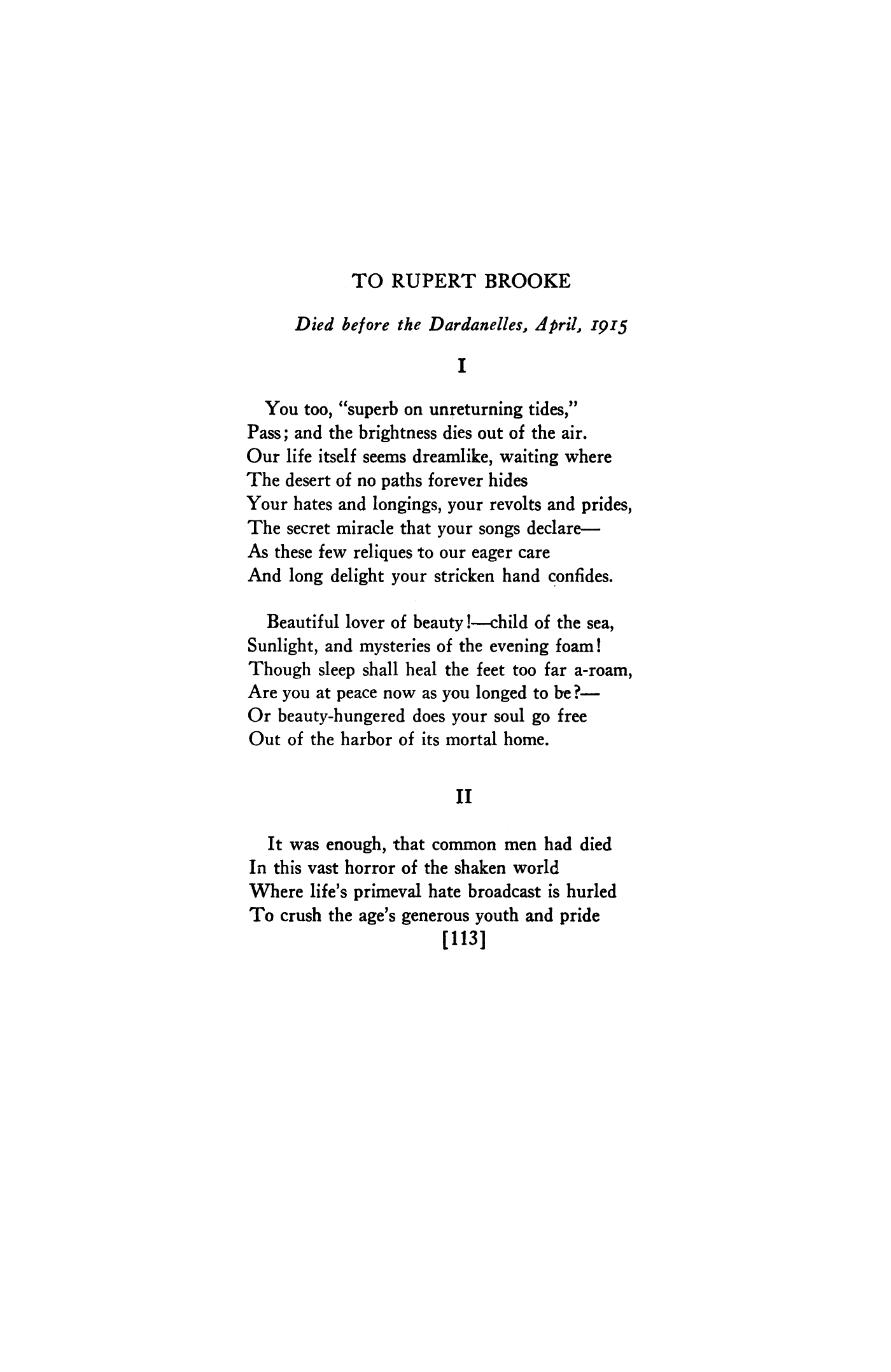 To Rupert Brooke By Arthur Davison Ficke Poetry Magazine