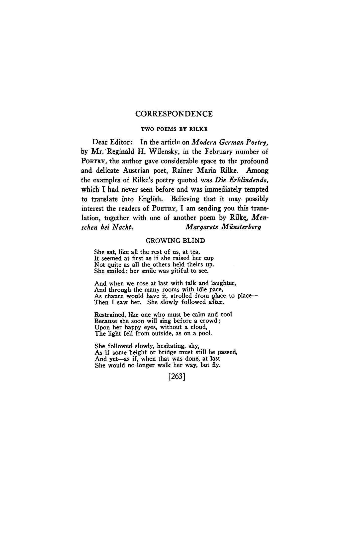 Correspondence: Two Poems by Rilke by Margarete Münsterberg