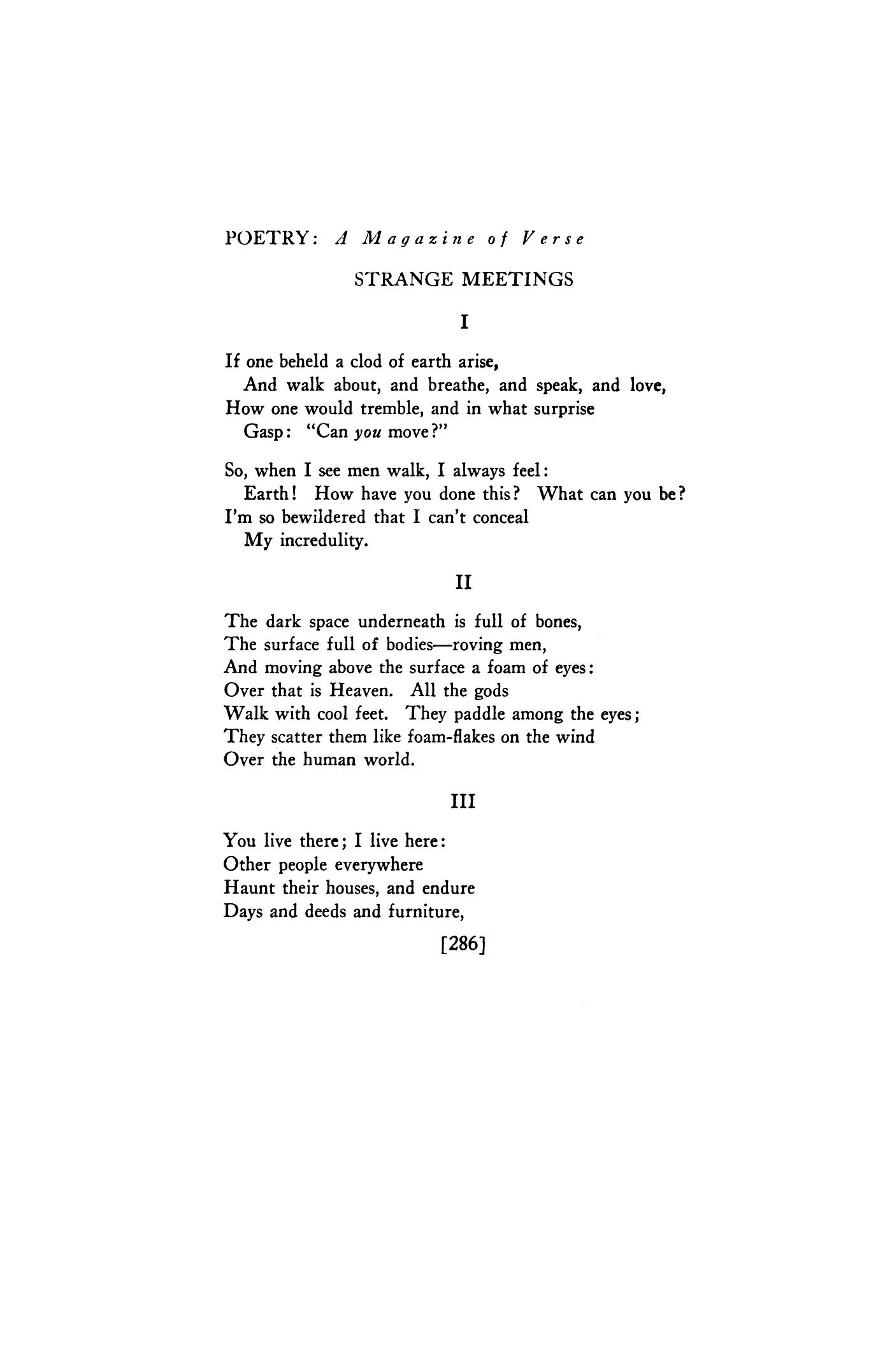 Strange Meetings by Harold Monro   Poetry Magazine