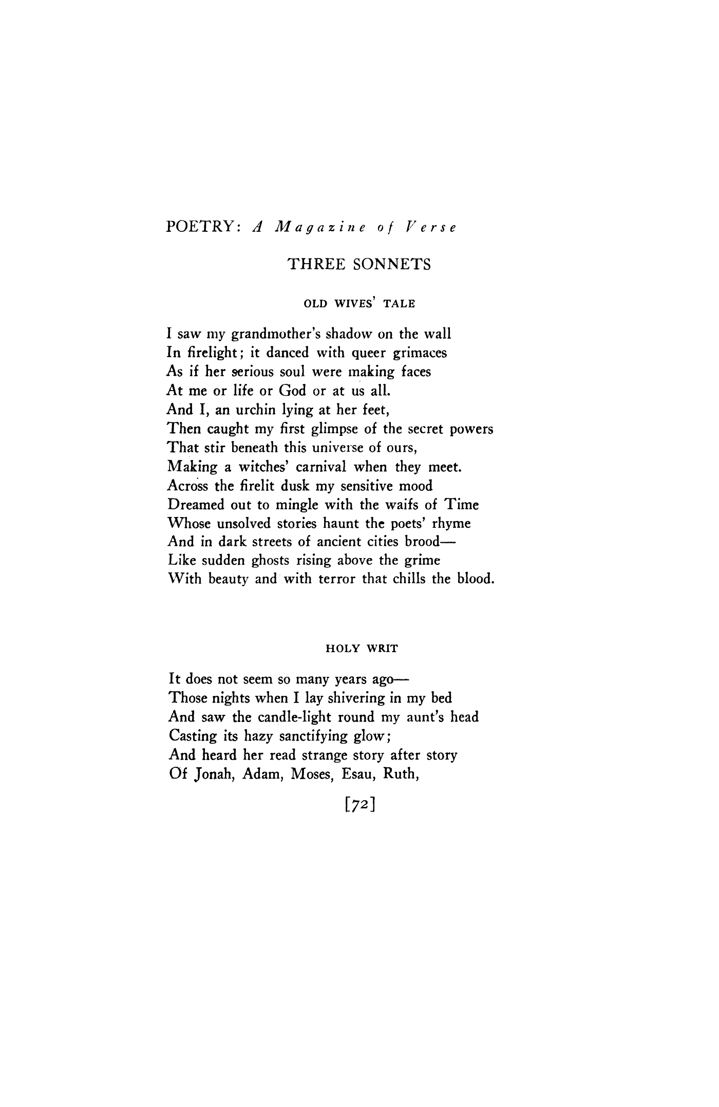 Old Wives Tale By Arthur Davison Ficke Holy Writ Poetry Magazine