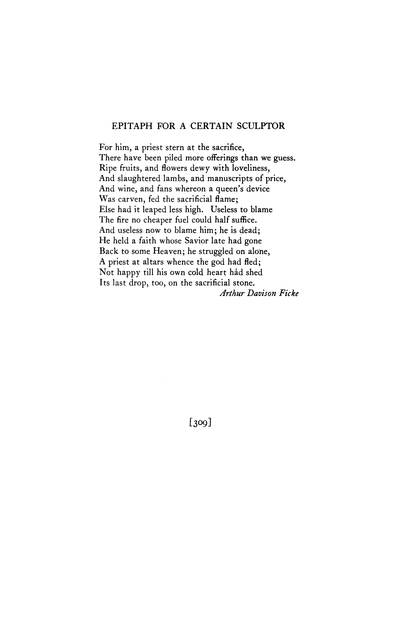 Epitaph For A Certain Sculptor By Arthur Davison Poetry Magazine