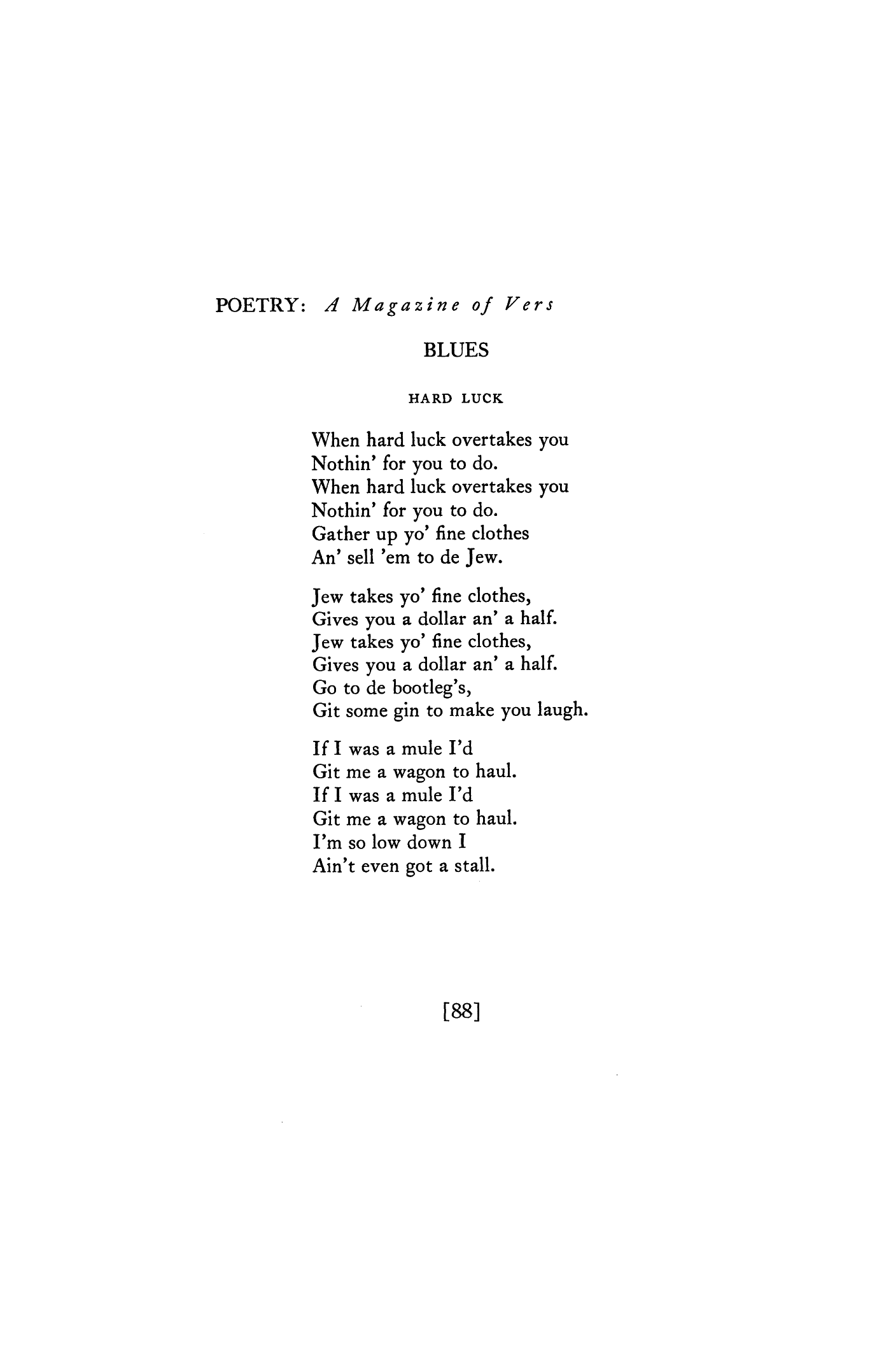 Hard Luck by Langston Hughes | Poetry Magazine