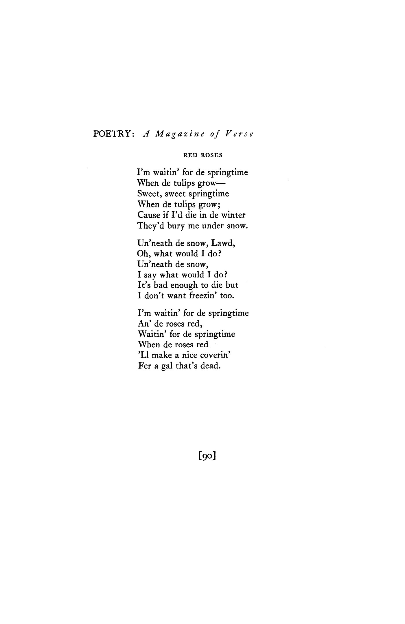 Red Roses by Langston Hughes | Poetry Magazine