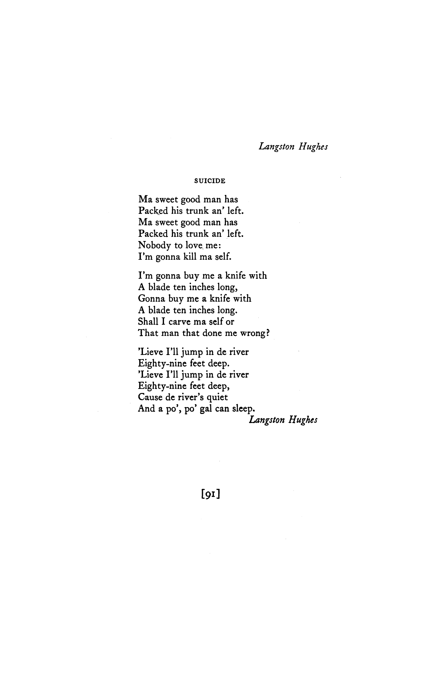 suicide by langston hughes poetry magazine