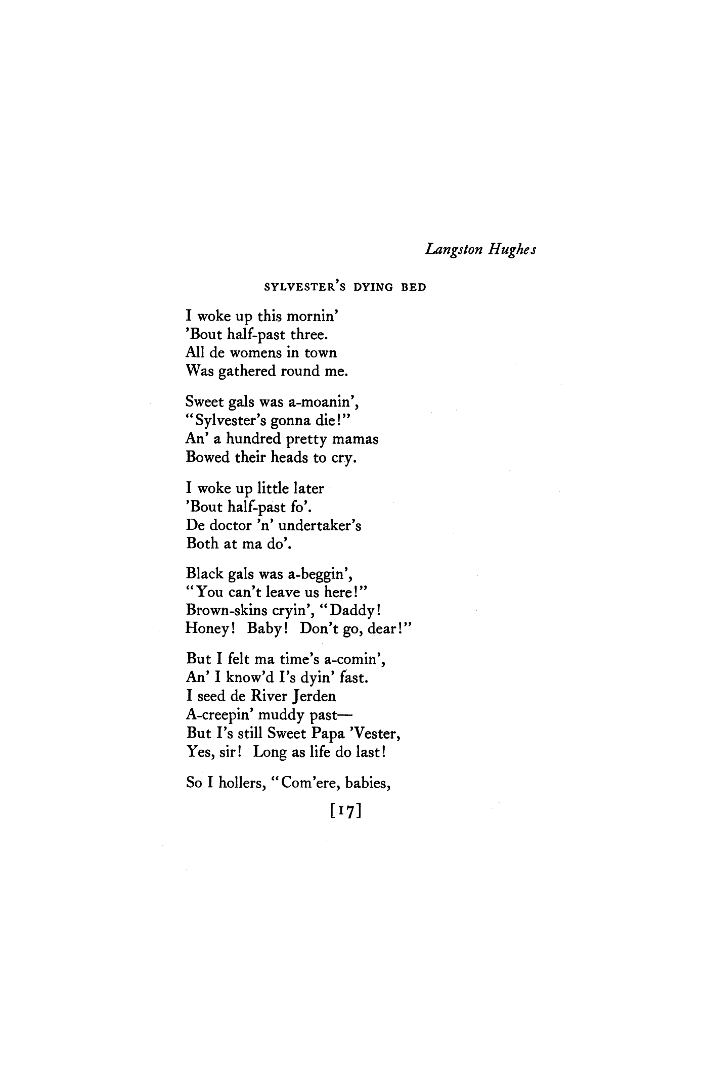 Sylvester's Dying Bed by Langston Hughes | Poetry Magazine