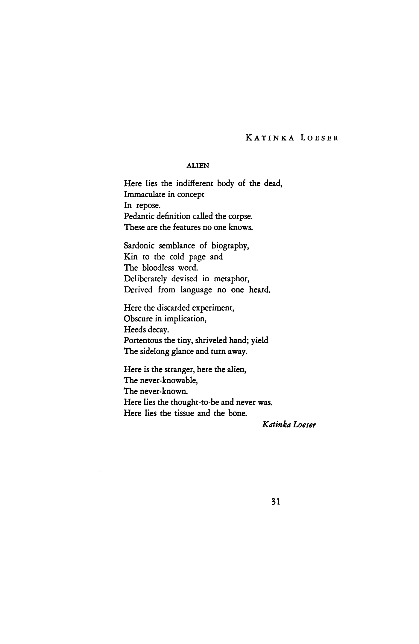 Alien by katinka loeser poetry magazine april 1942 aloadofball Image collections