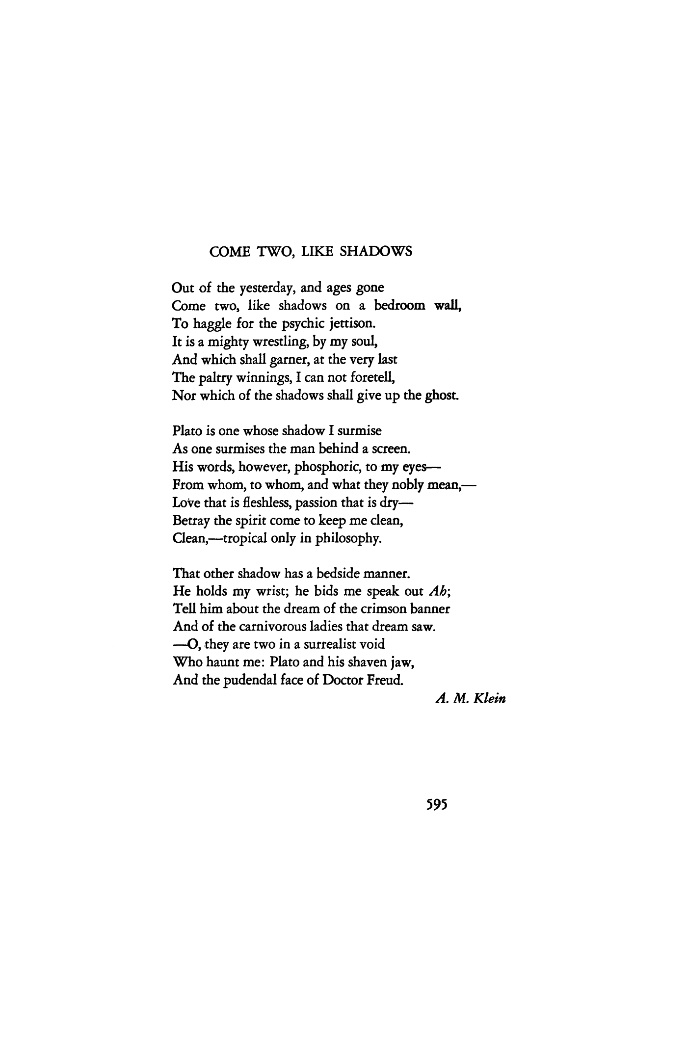 Come Two Like Shadows By A M Klein Poetry Magazine