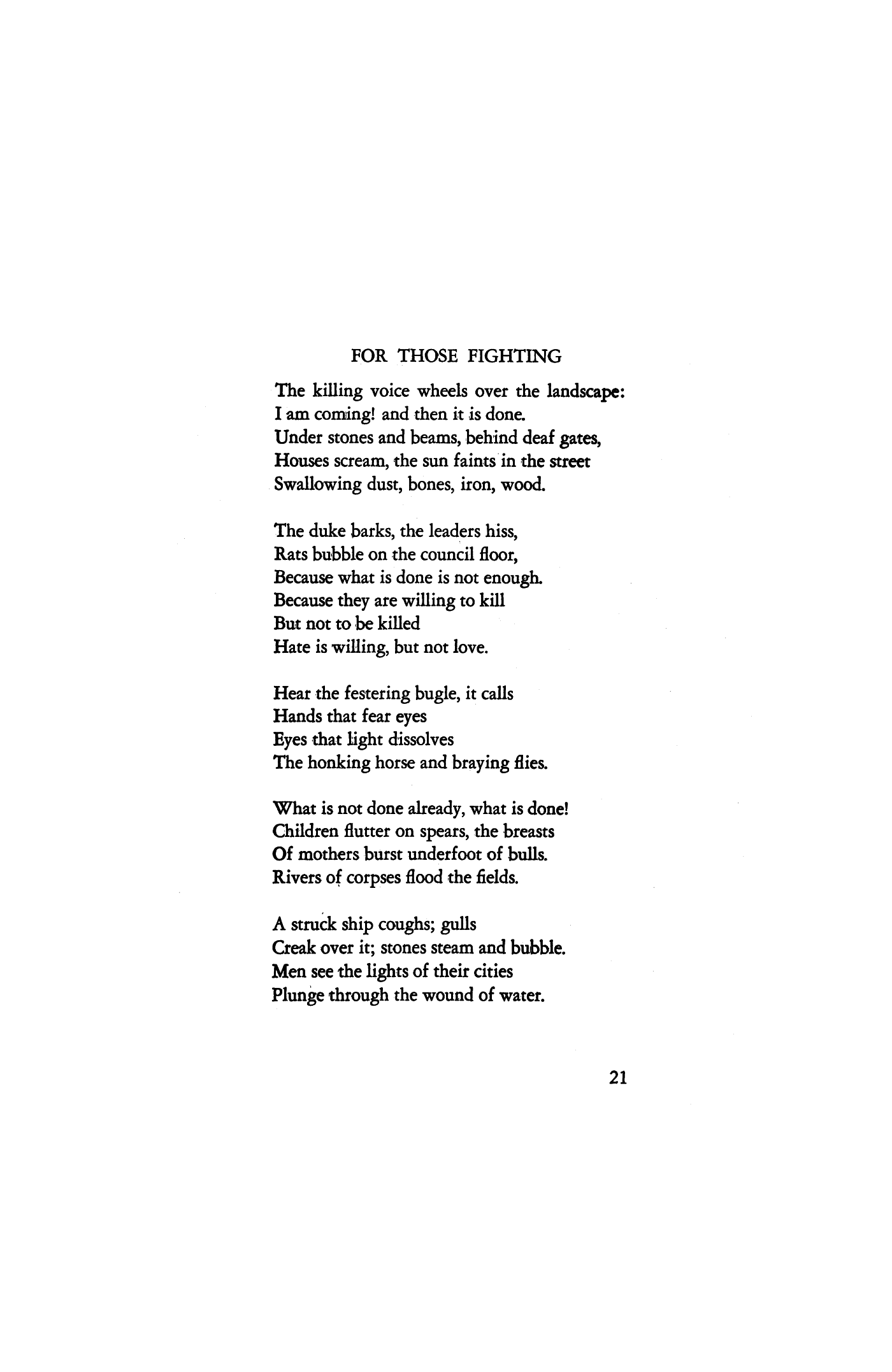 For Those Fighting By Clarence Weinstock Poetry Magazine