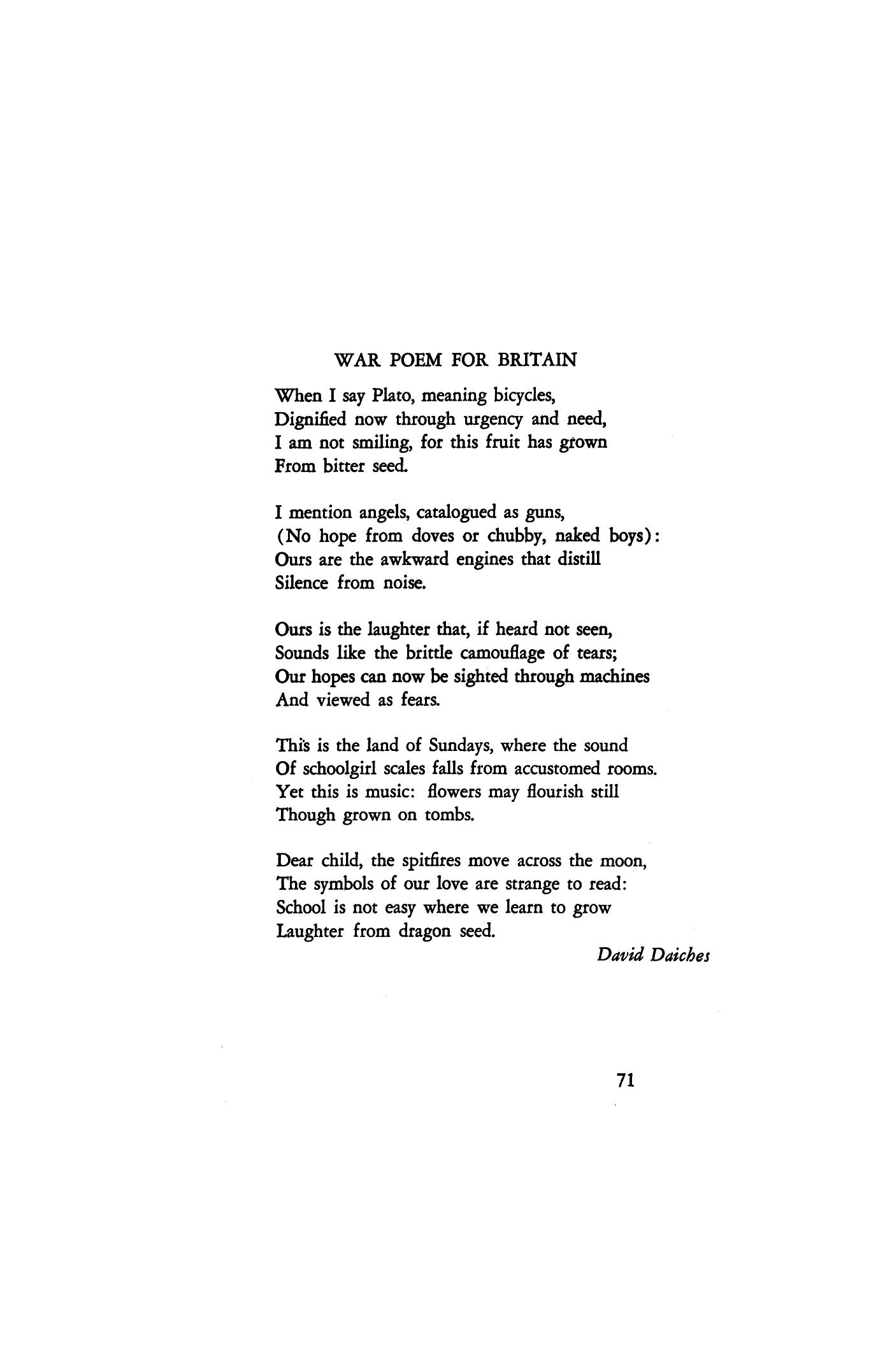 War Poem for Britain by David Daiches | Poetry Magazine