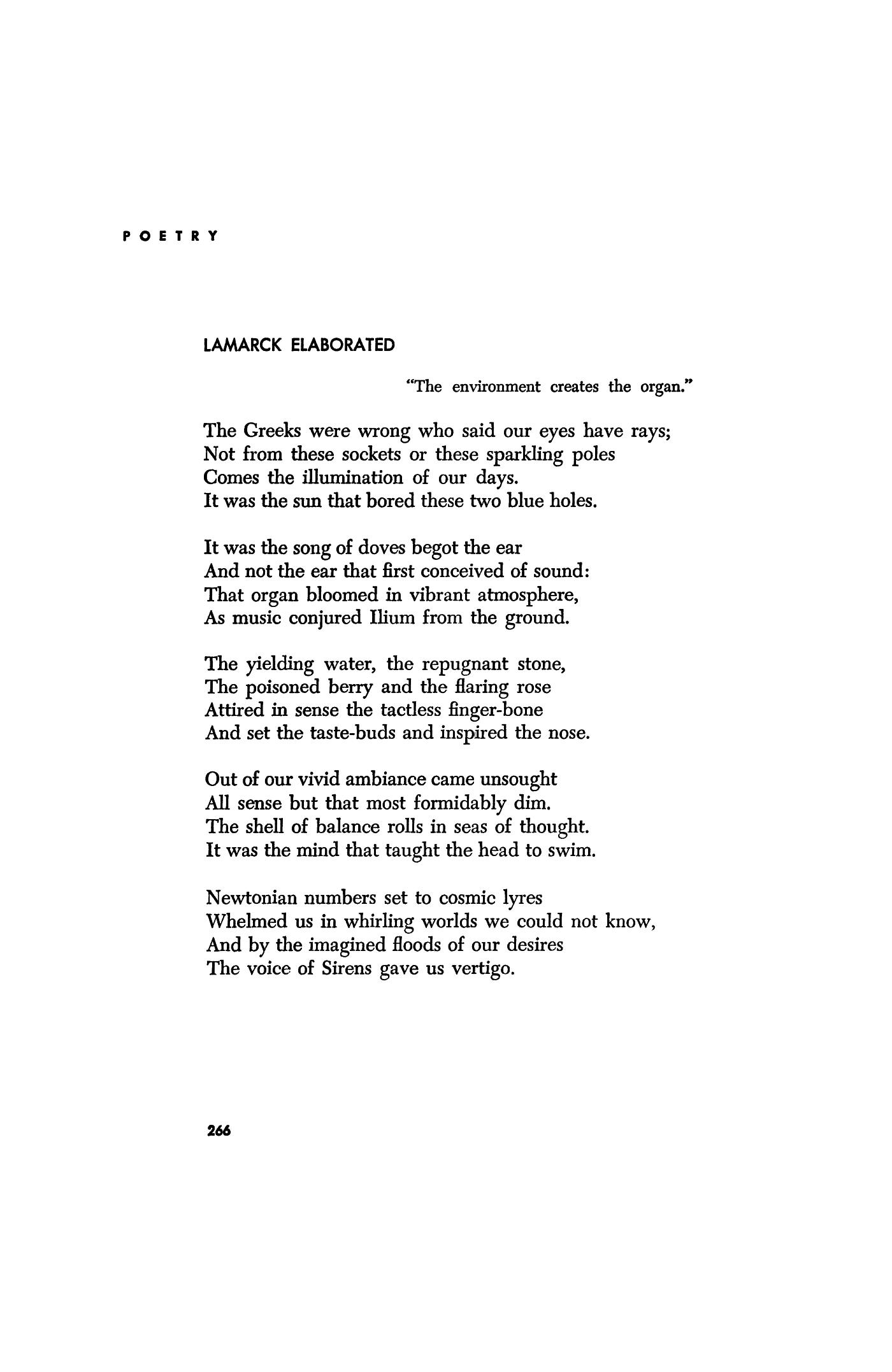 Richard Wilbur lamarck elaborated