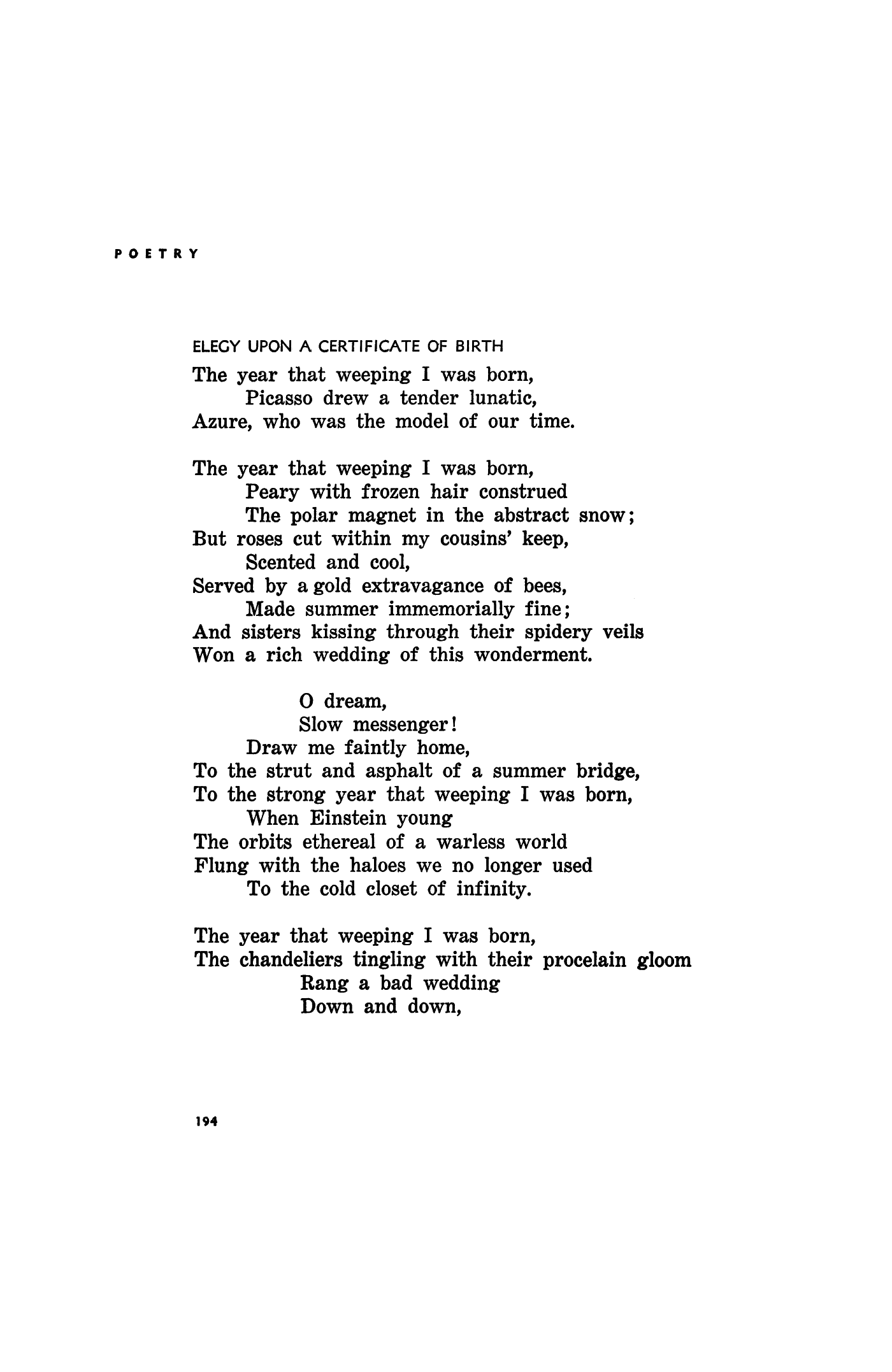 Elegy Upon A Certificate Of Birth By Ben Maddow