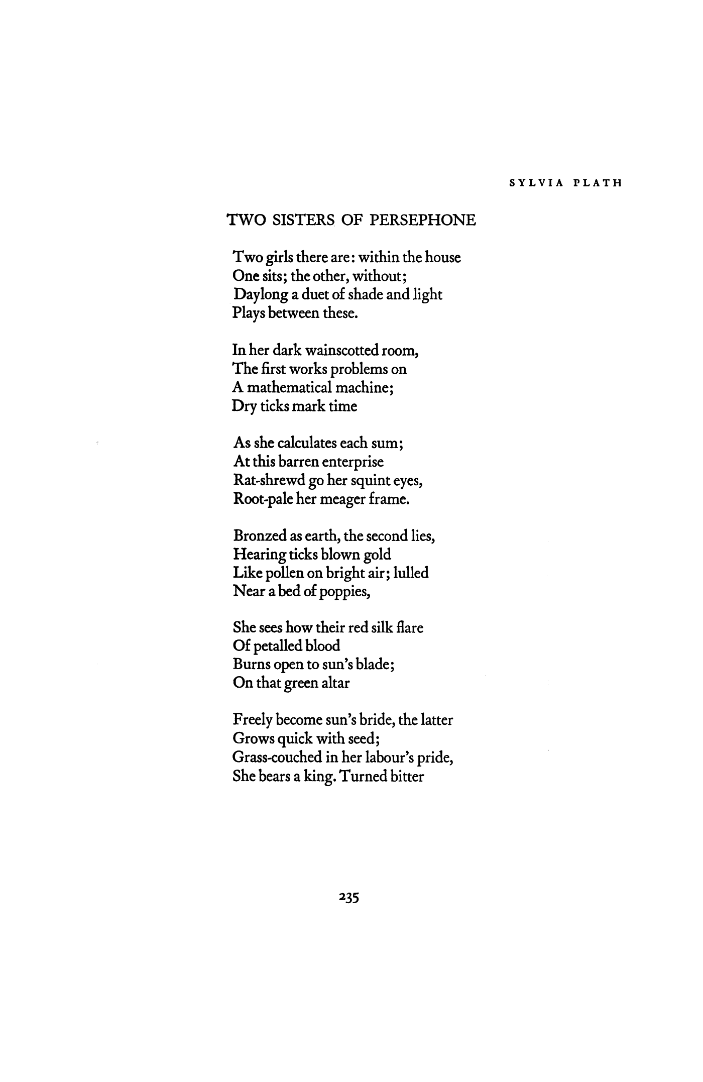 two sisters of persephone by sylvia plath poetry magazine