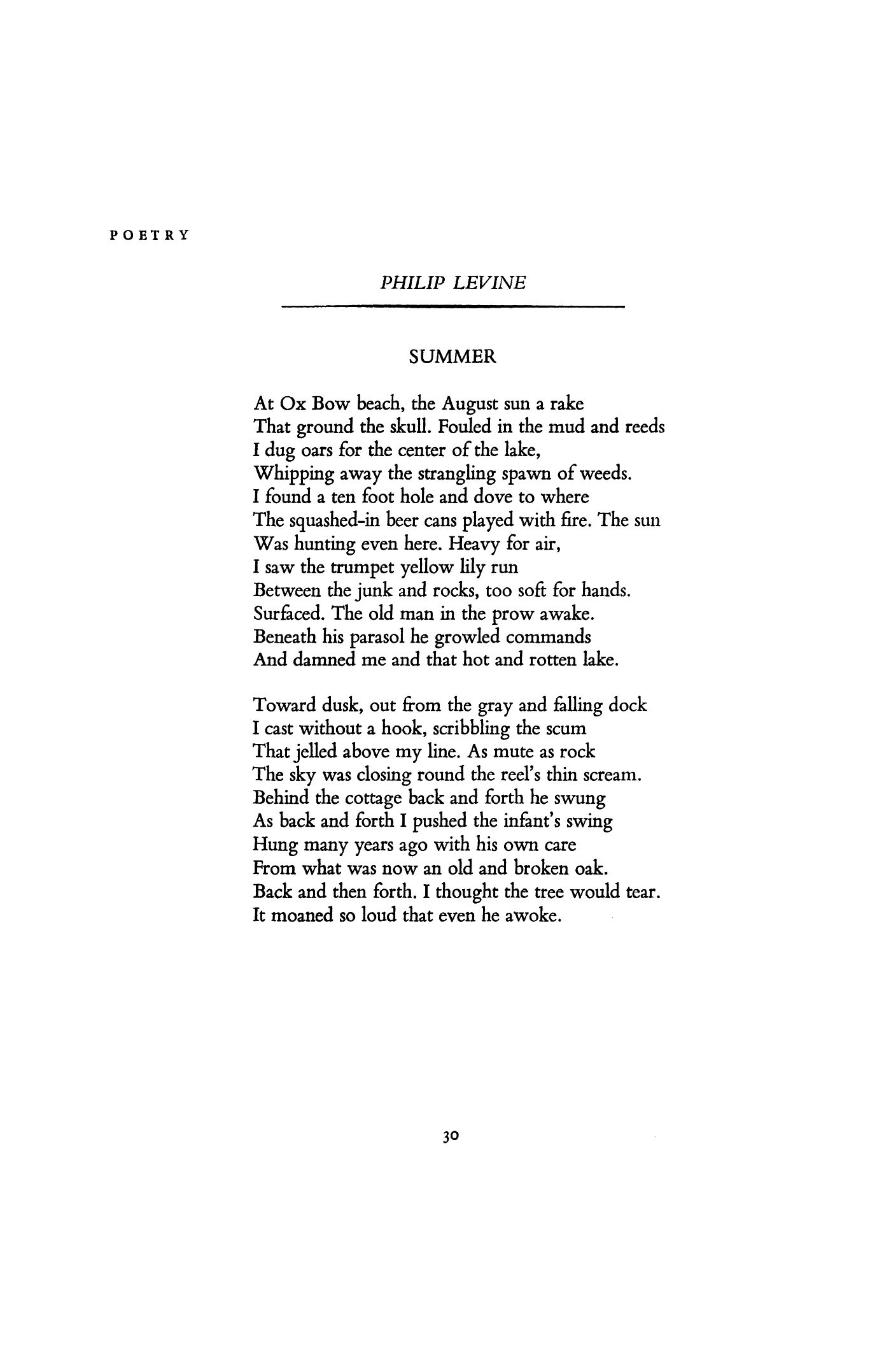 summer by philip levine poetry magazine  1957