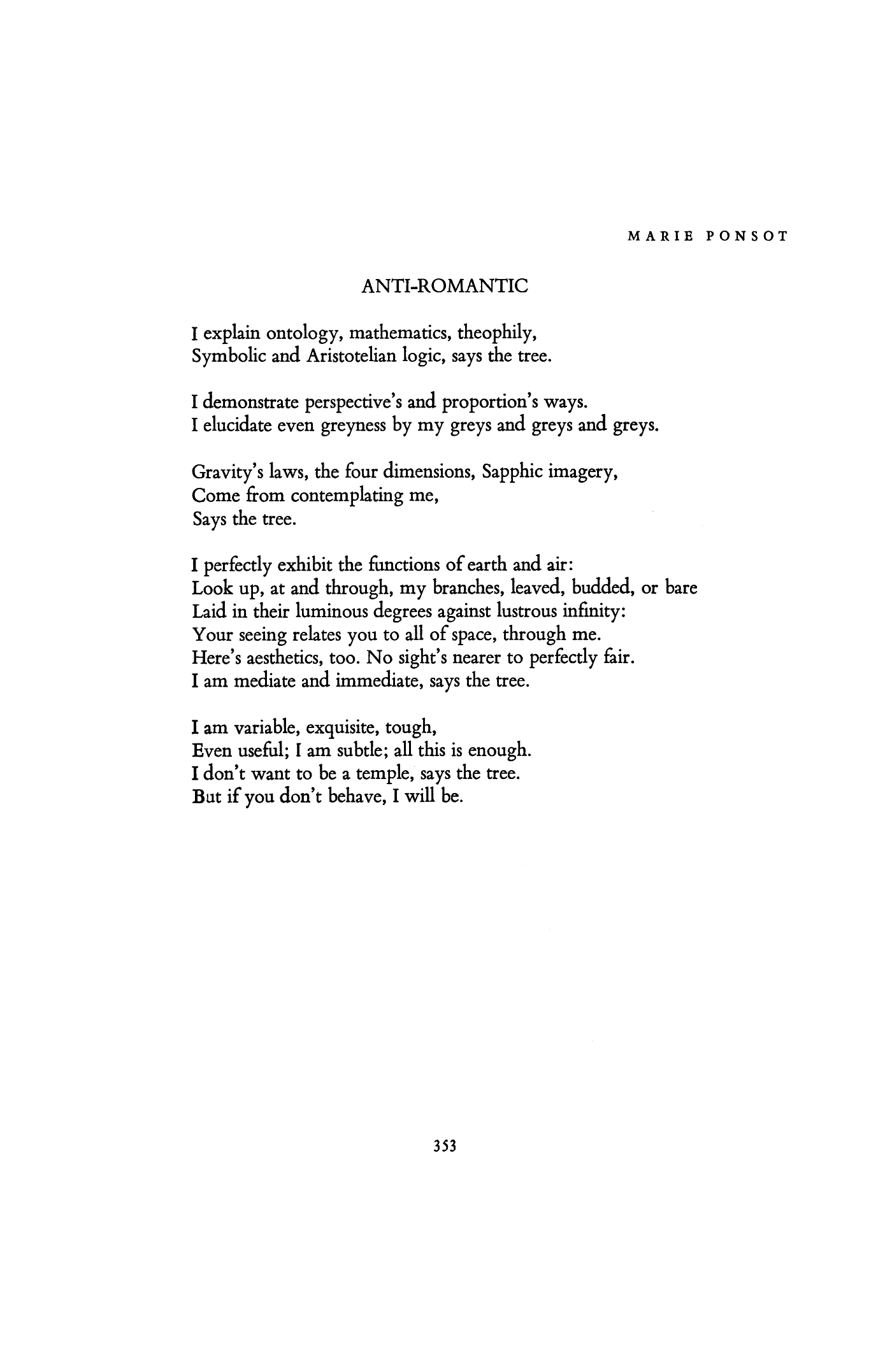 Anti Romantic By Marie Ponsot Poetry Magazine