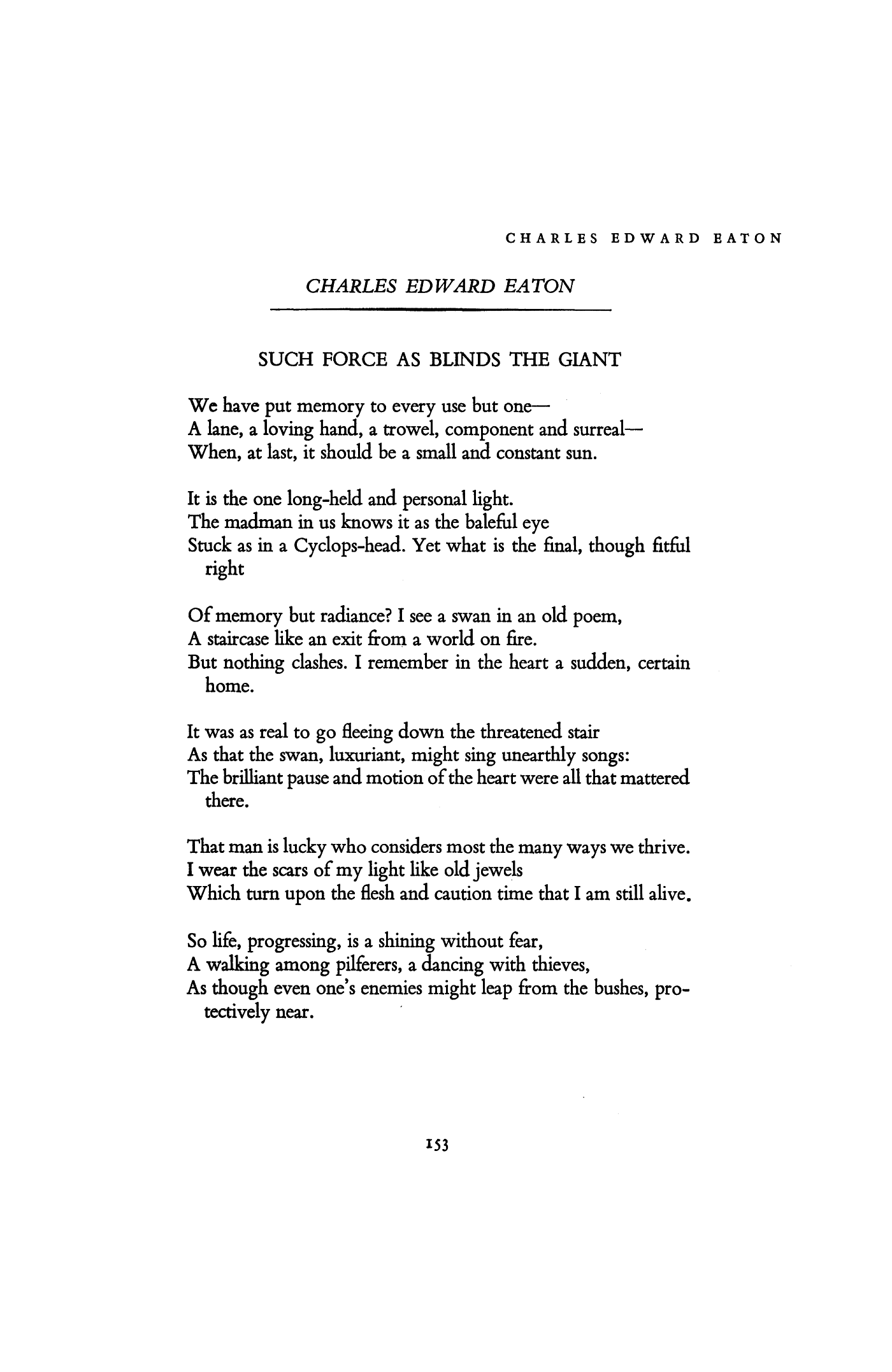 Such Force As Blinds The Giant By Charles Edward Eaton Poetry Magazine