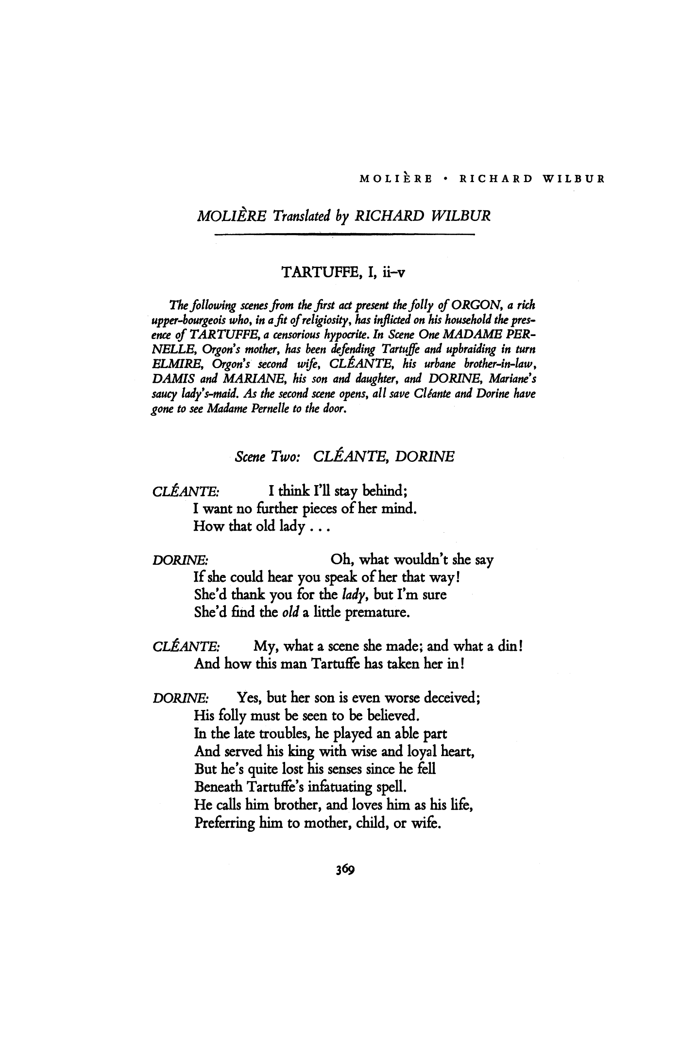 Tartuffe I Ii V By Molière Poetry Magazine