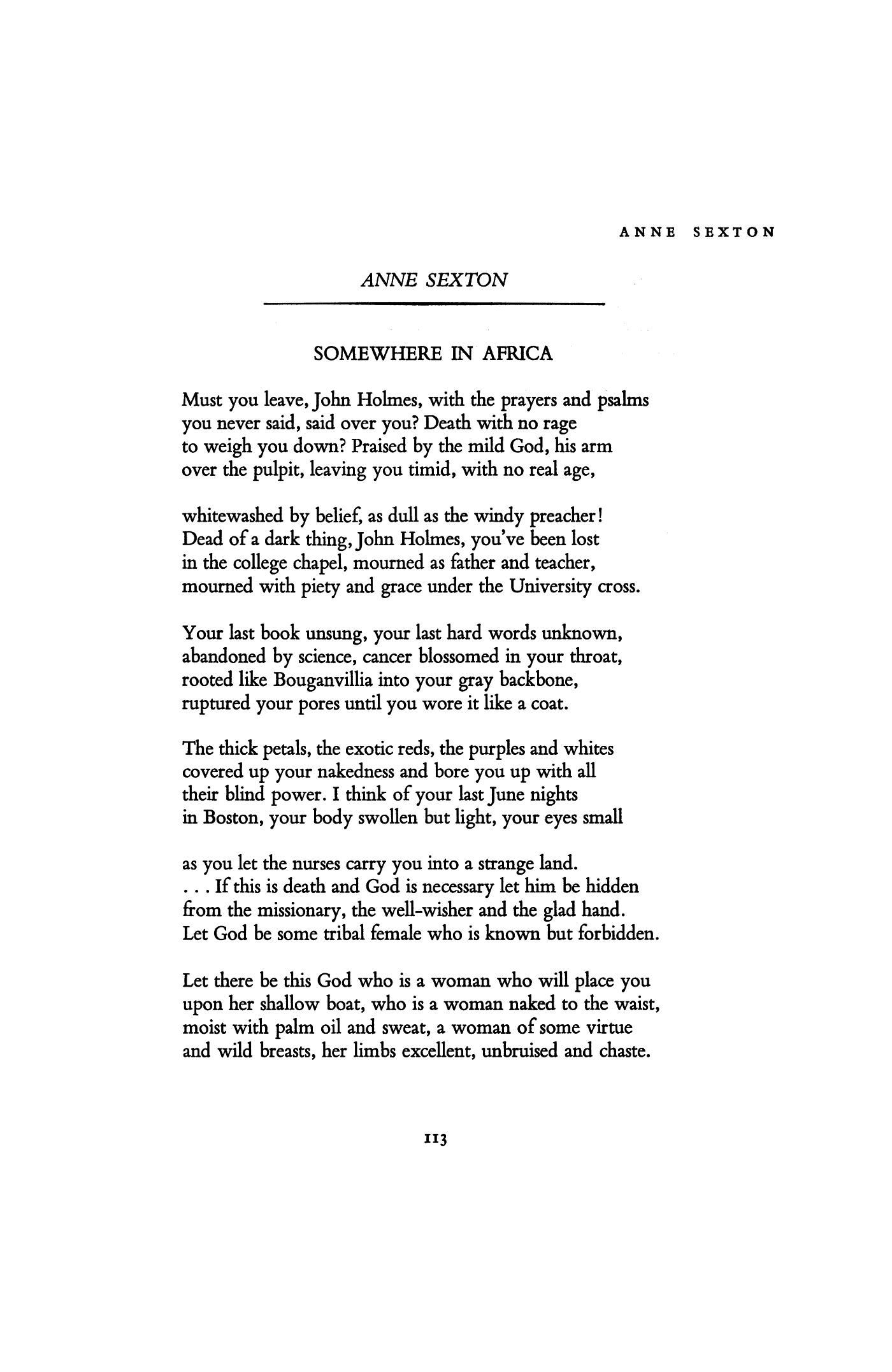 anne sexton poem analysis