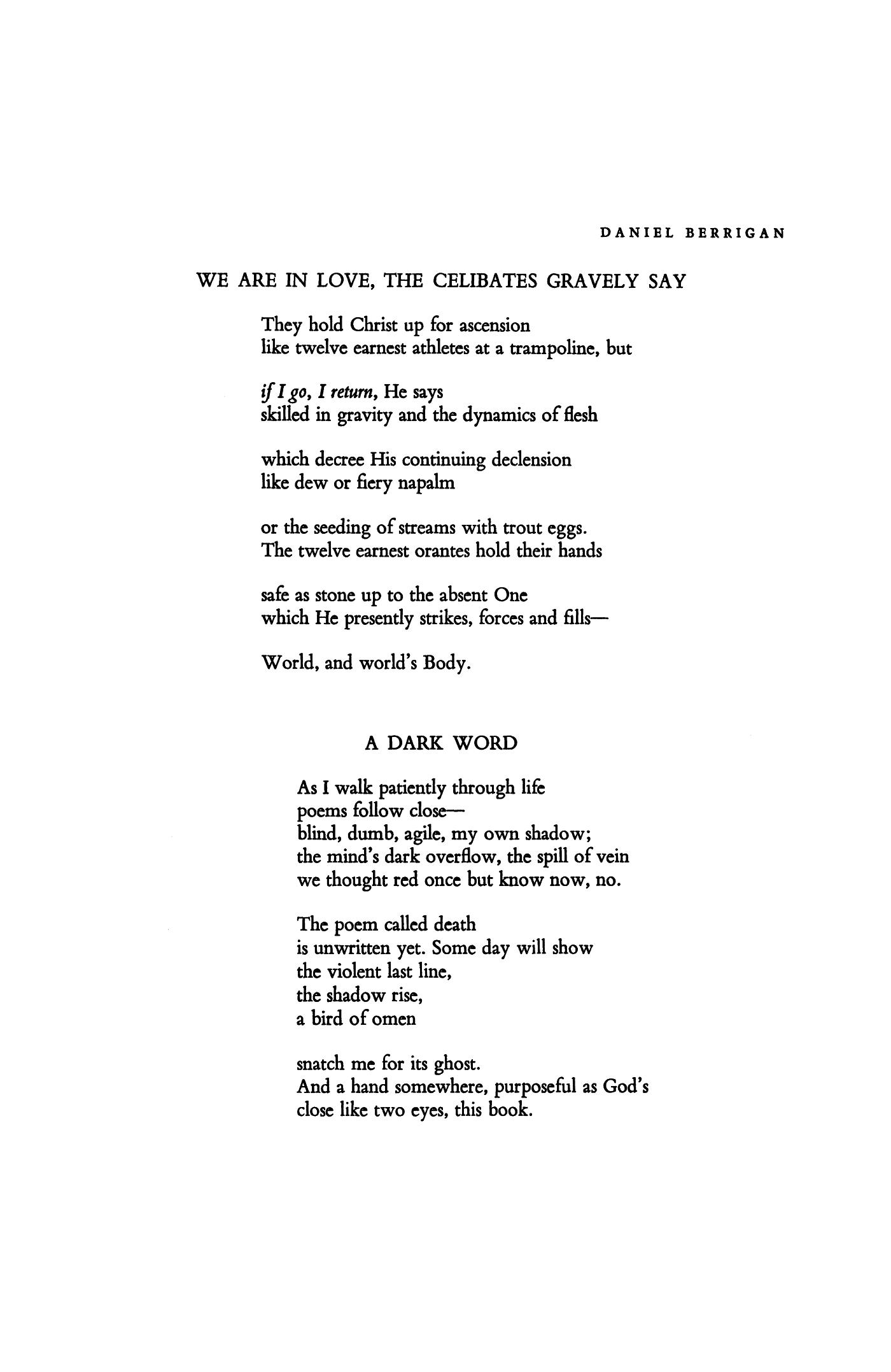 We Are in Love, the Celibates Gravely Say by Daniel Berrigan