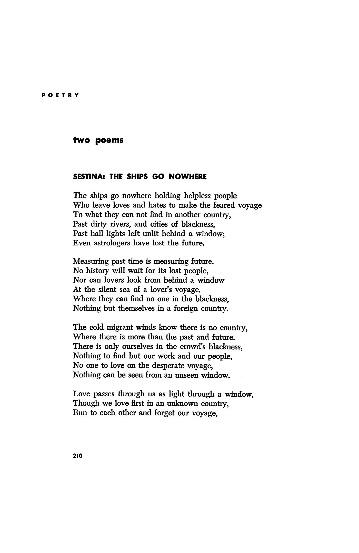 sestina poem by elizabeth bishop
