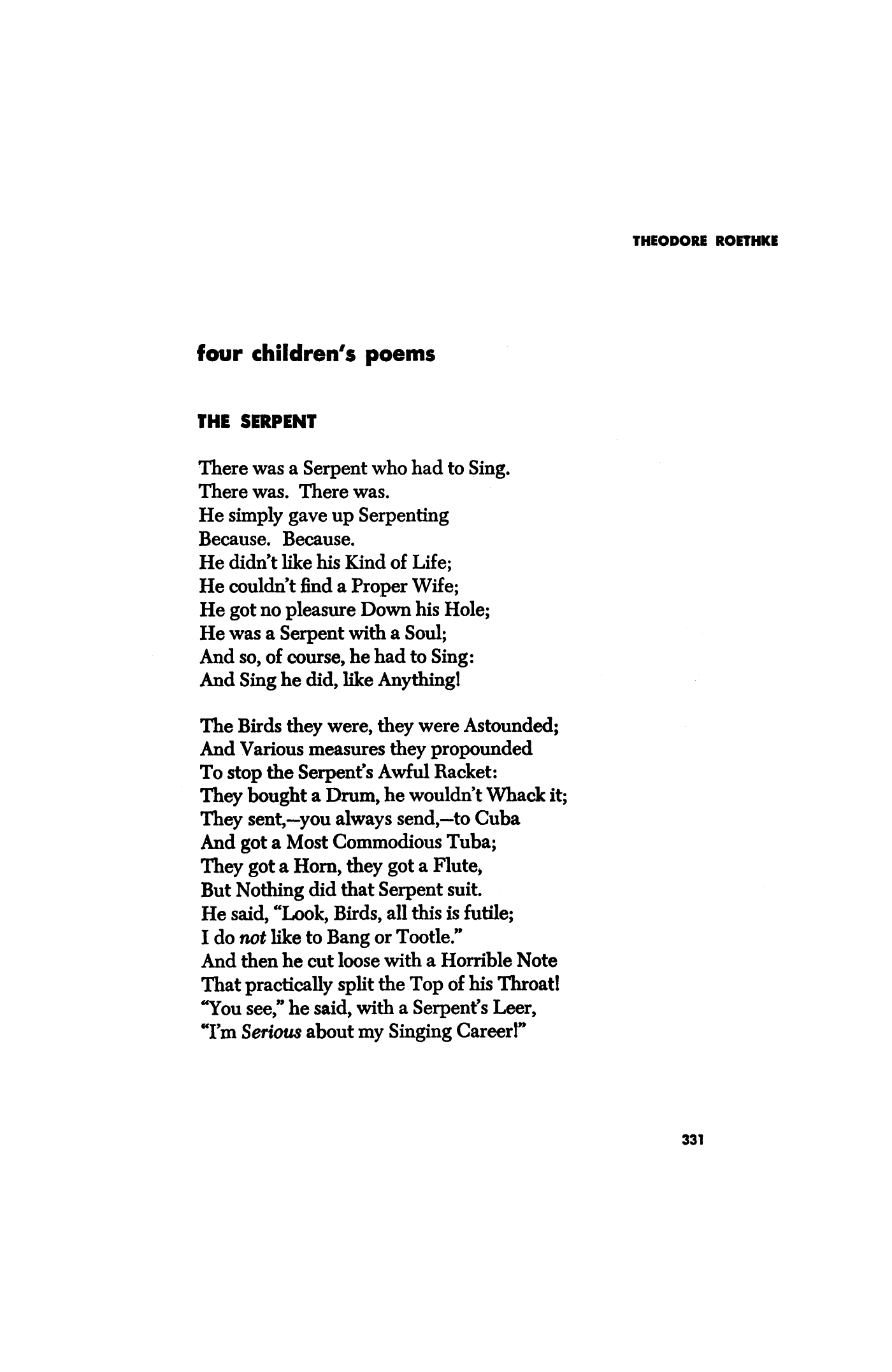 the serpent by theodore roethke