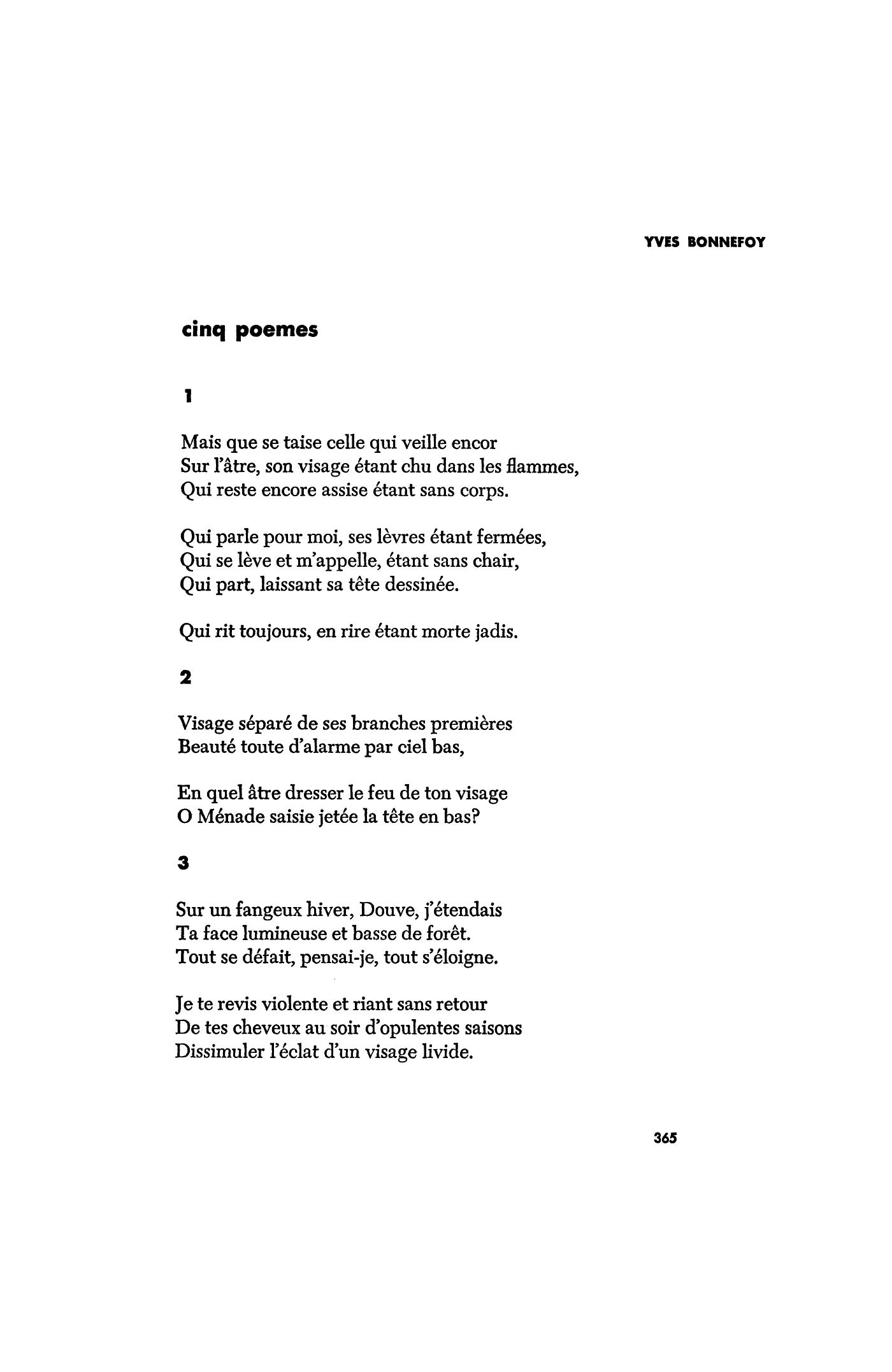 Cinq Poèmes Five Poems By Yves Bonnefoy Poetry Magazine