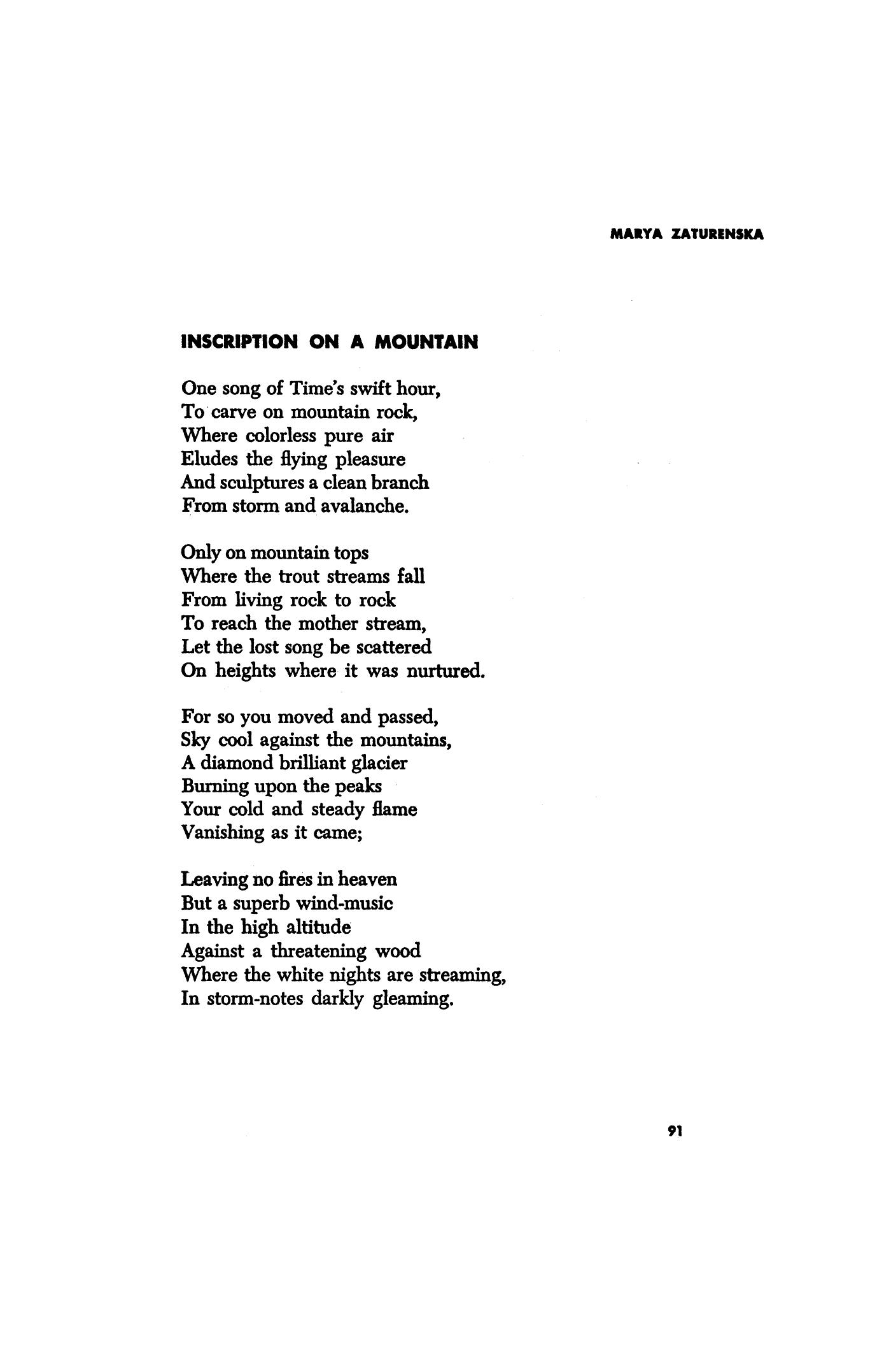 Marya Zaturenska selected poems
