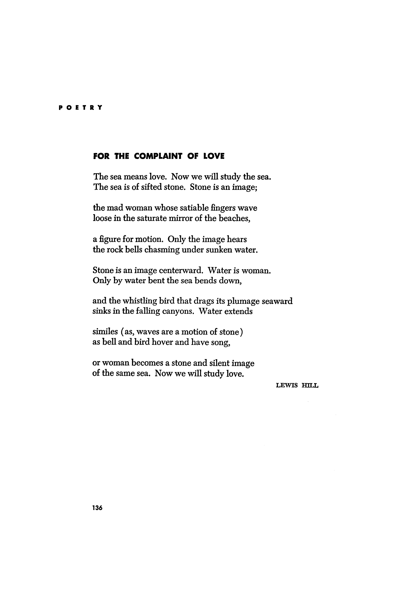 For the Complaint of Love by Lewis Hill | Poetry Magazine