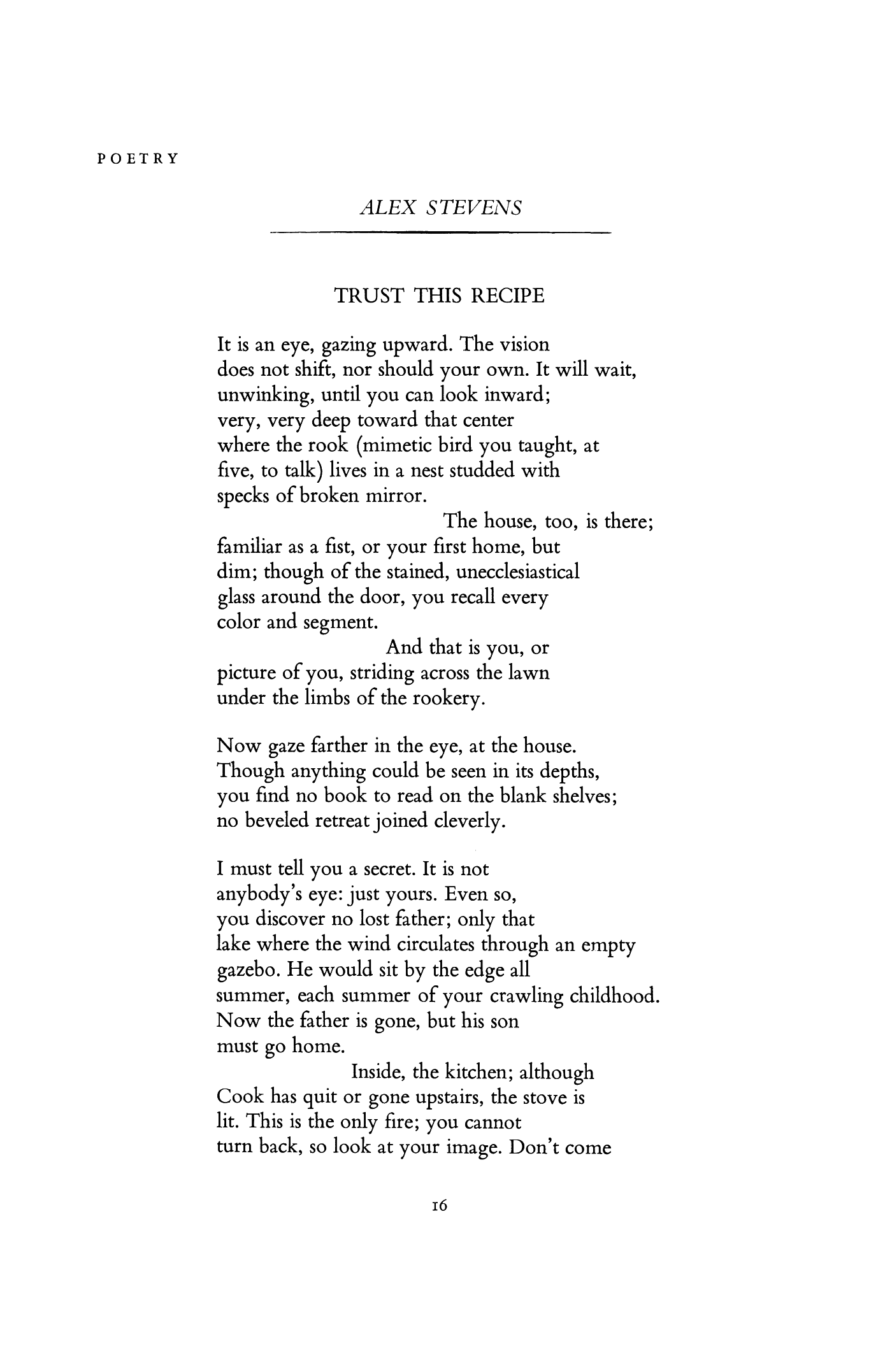 Trust This Recipe By Alex Stevens Poetry Magazine