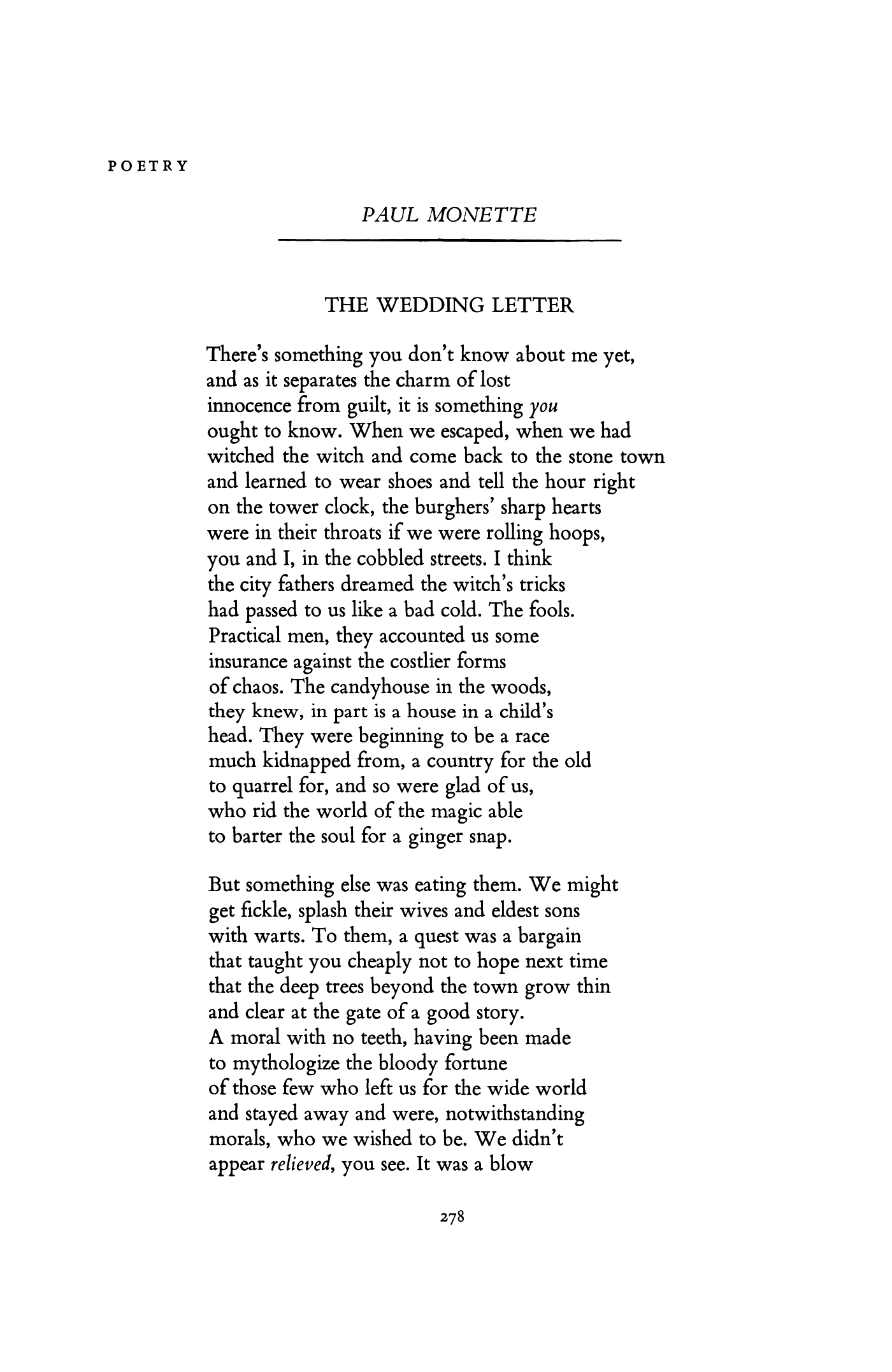 The Wedding Letter By Paul Monette Poetry Magazine