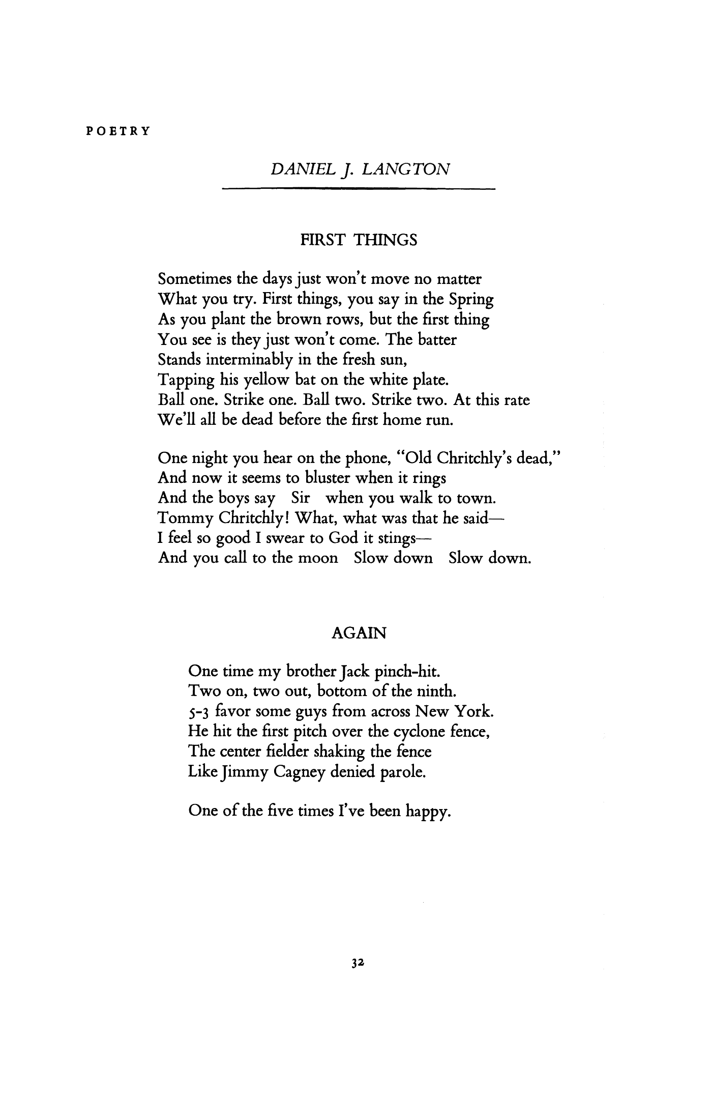 First Things by Daniel J. Langton | Again by Daniel J. Langton | Poetry  Magazine