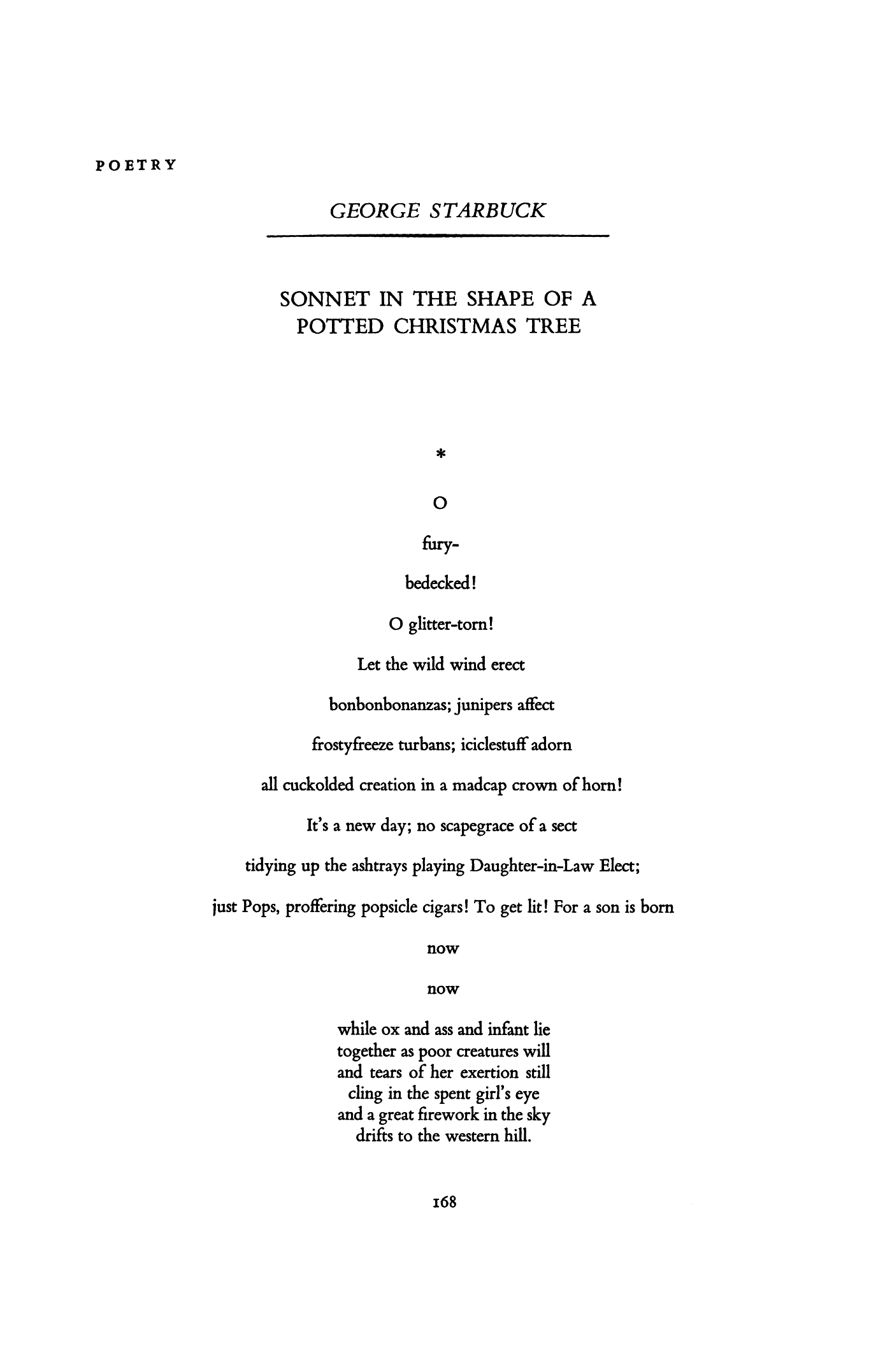 Sonnet in the Shape of a Potted Christmas Tree by George Starbuck ...