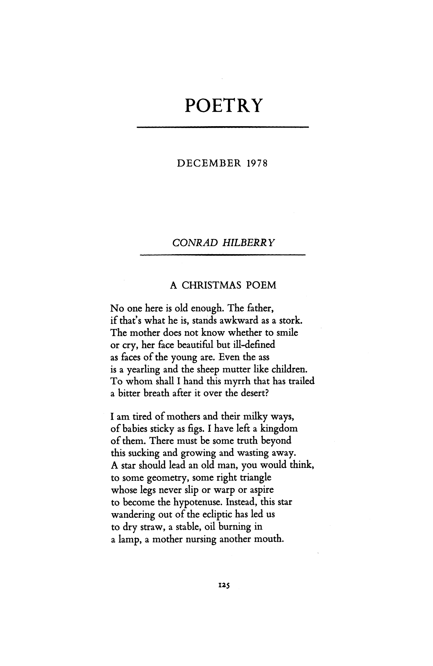 Christmas Poem.A Christmas Poem By Conrad Hilberry Poetry Magazine