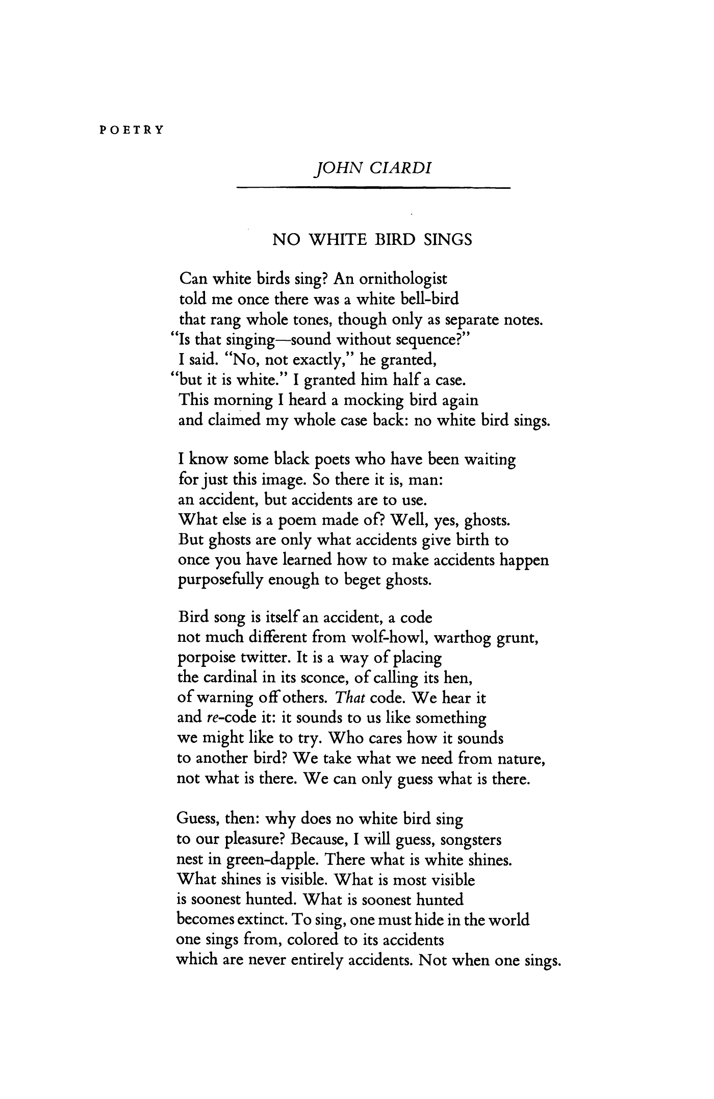No White Bird Sings by John Ciardi | Poetry Magazine