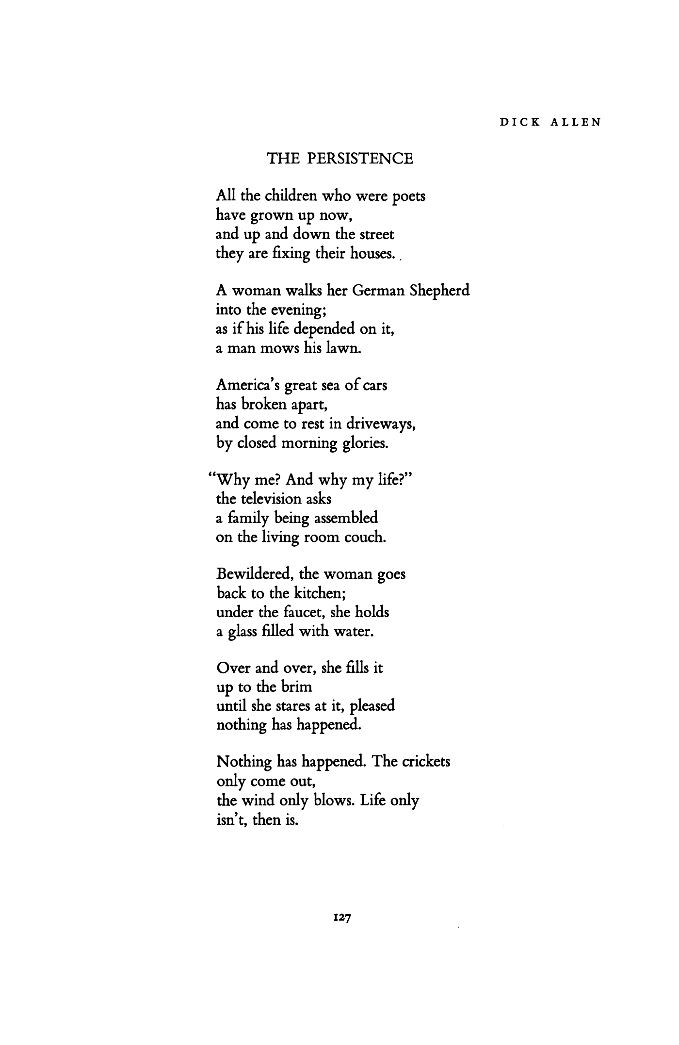 The Persistence by Dick Allen | Poetry Magazine