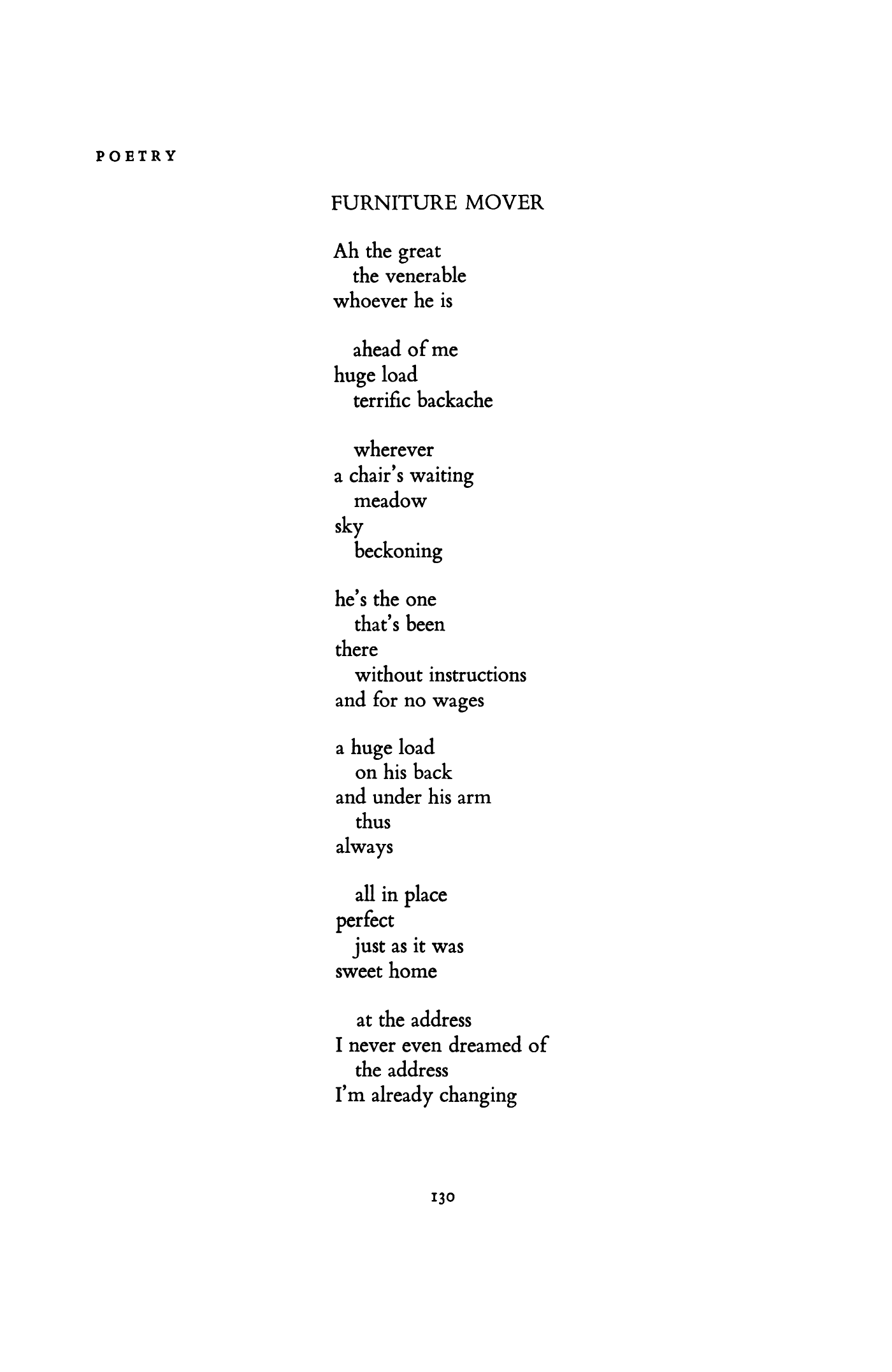 Furniture Mover By Charles Simic Poetry Magazine