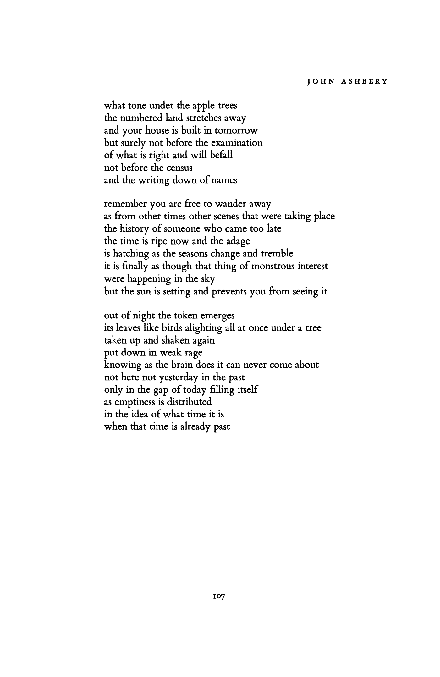 John Ashbery as you came from the holy land