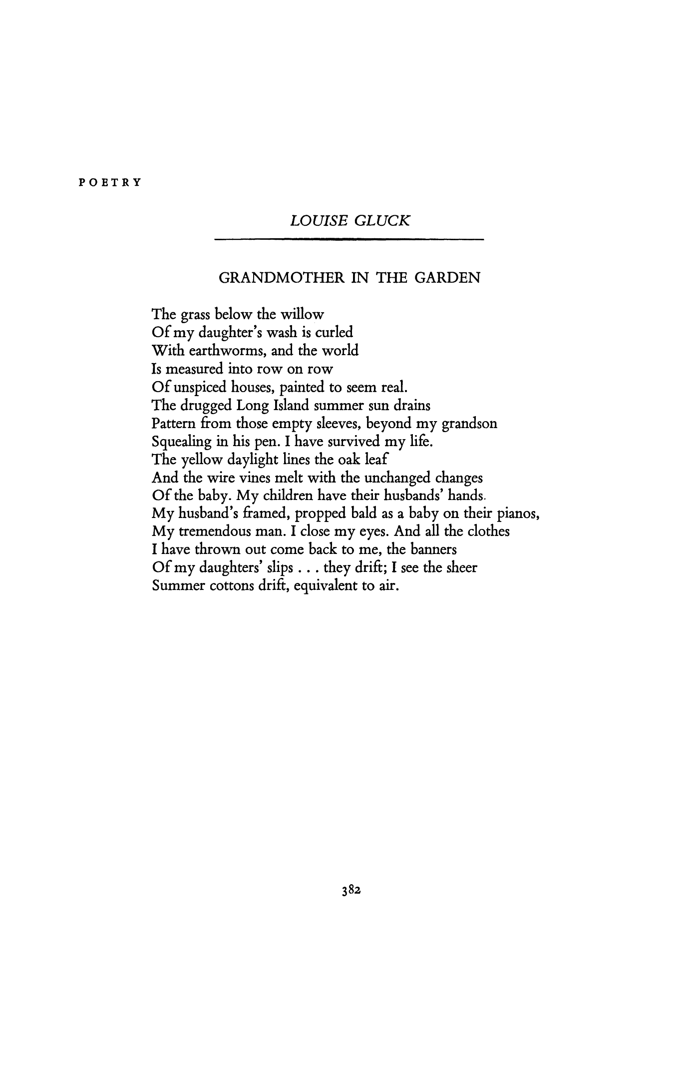 Grandmother In The Garden By Louise Gluck Poetry Magazine