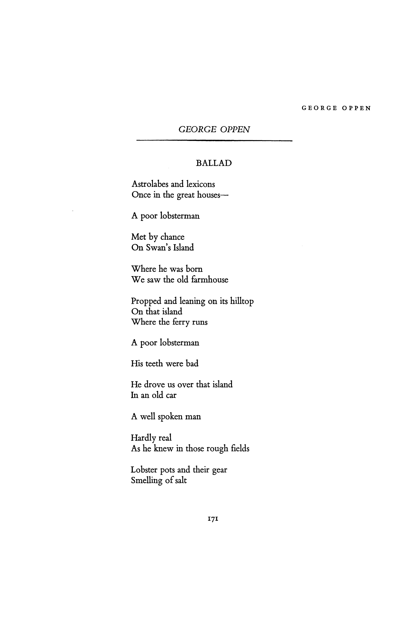 ballad by george oppen poetry magazine