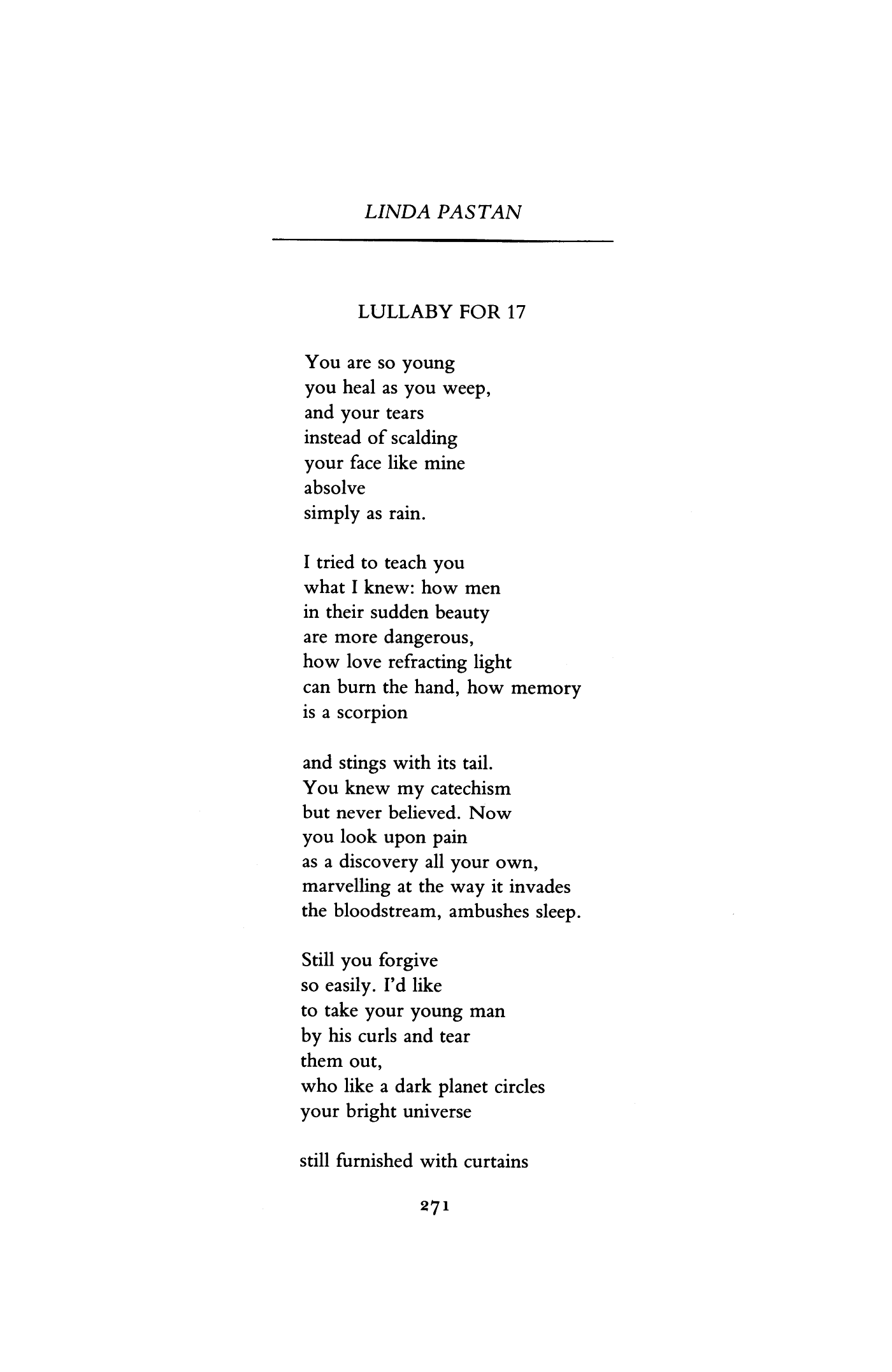 Lullaby for 17 by linda pastan poetry magazine august 1983 pronofoot35fo Image collections
