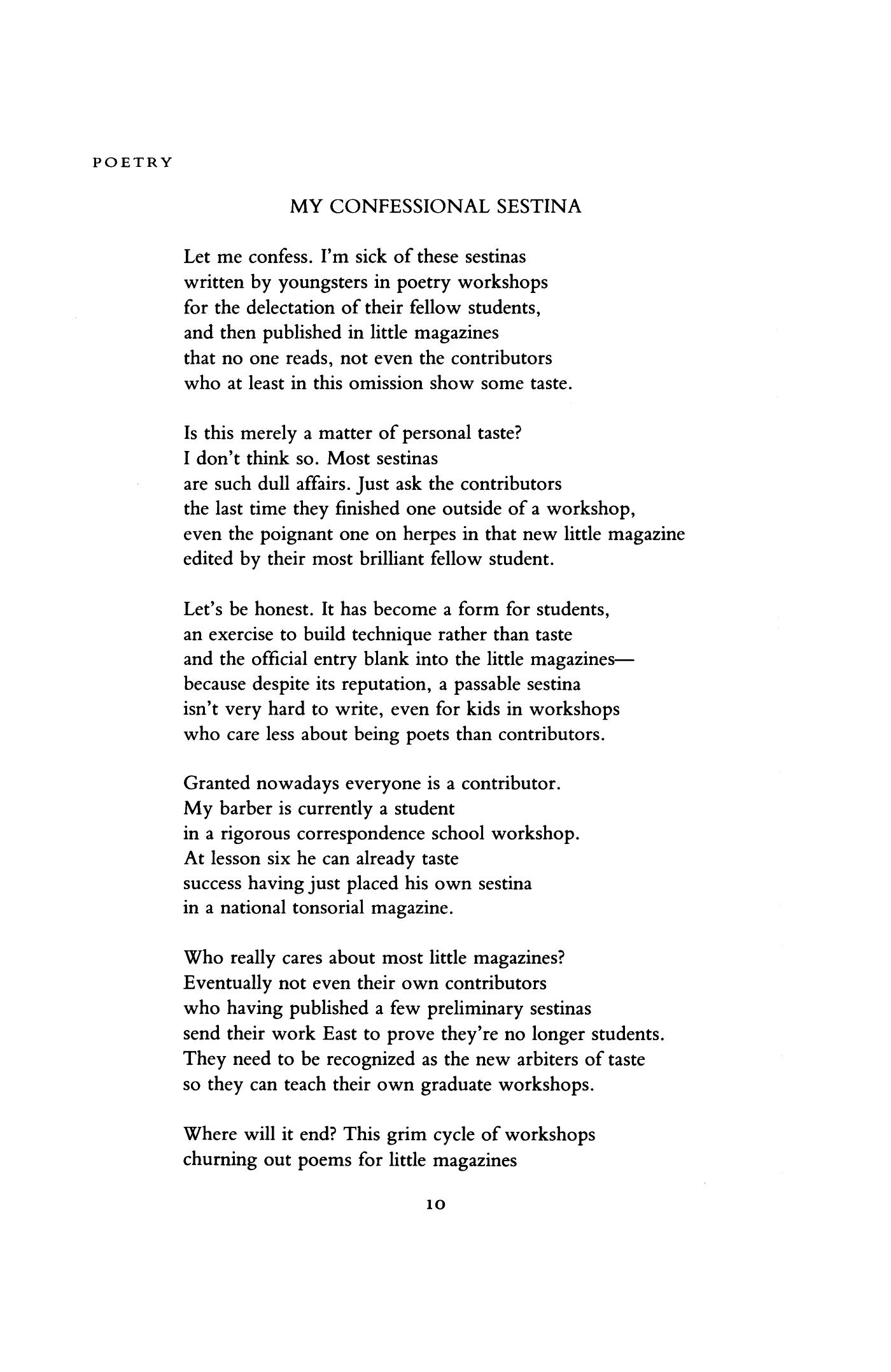 My Confessional Sestina By Dana Gioia Poetry Magazine