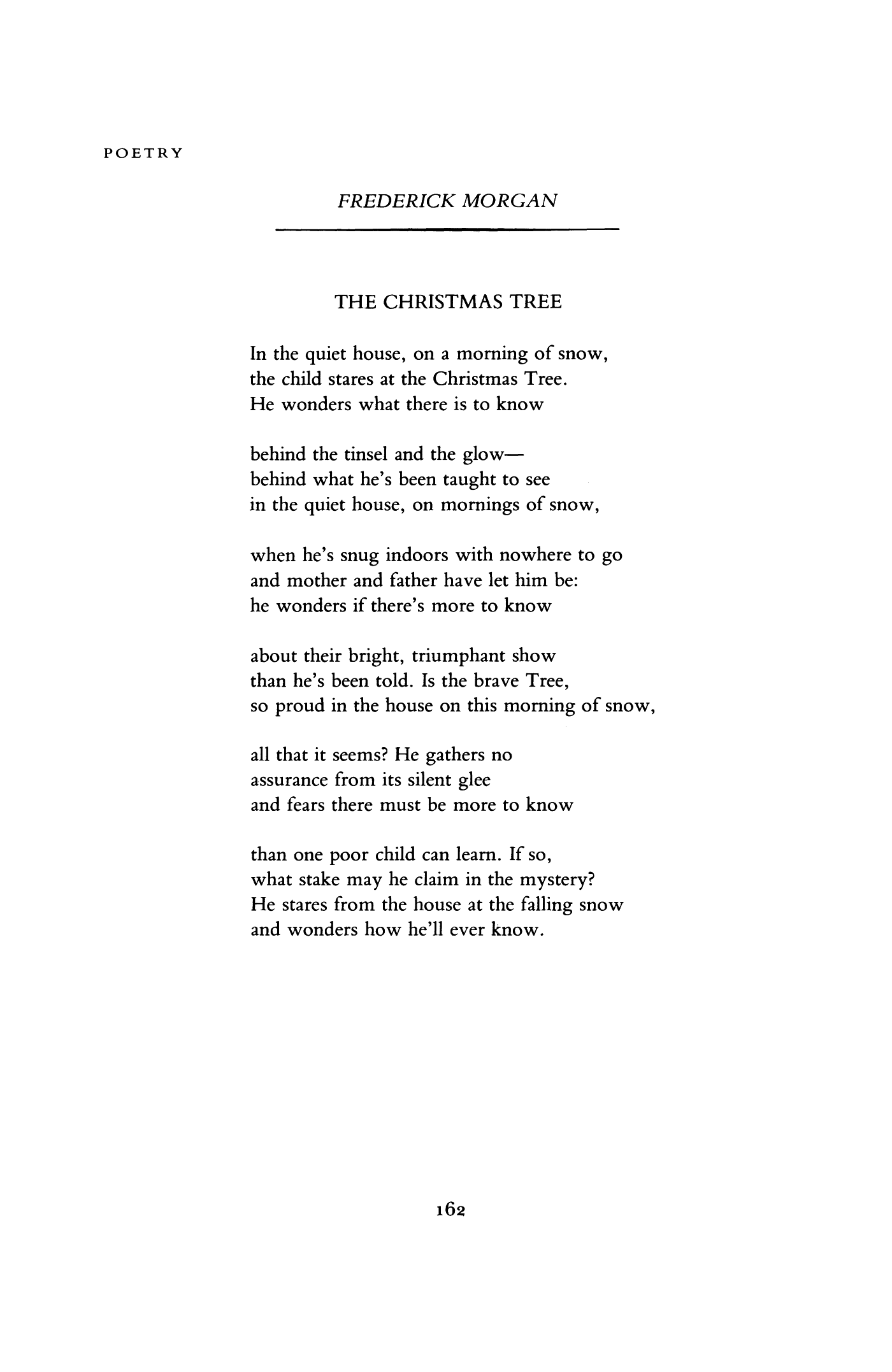 the christmas tree by frederick morgan poetry magazine - Frederick Christmas Show