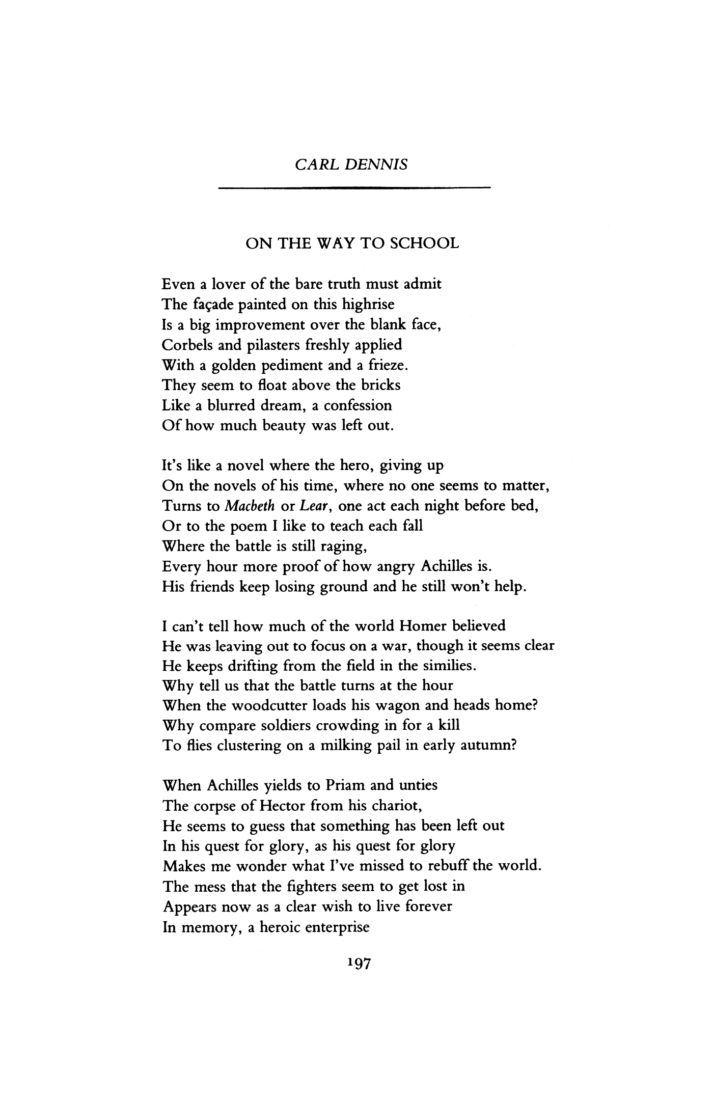 On the Way to School by Carl Dennis | Poetry Magazine