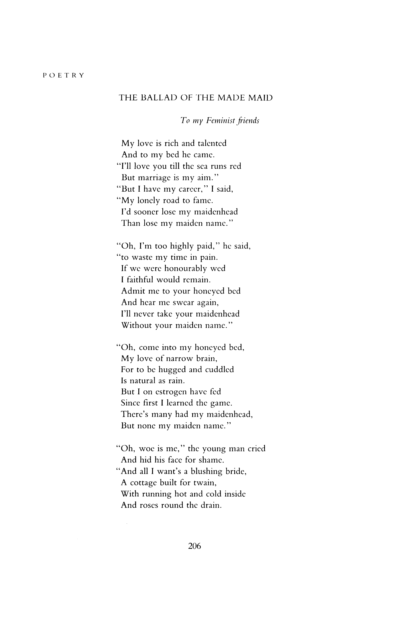 the ballad of the made maid by anne stevenson poetry magazine