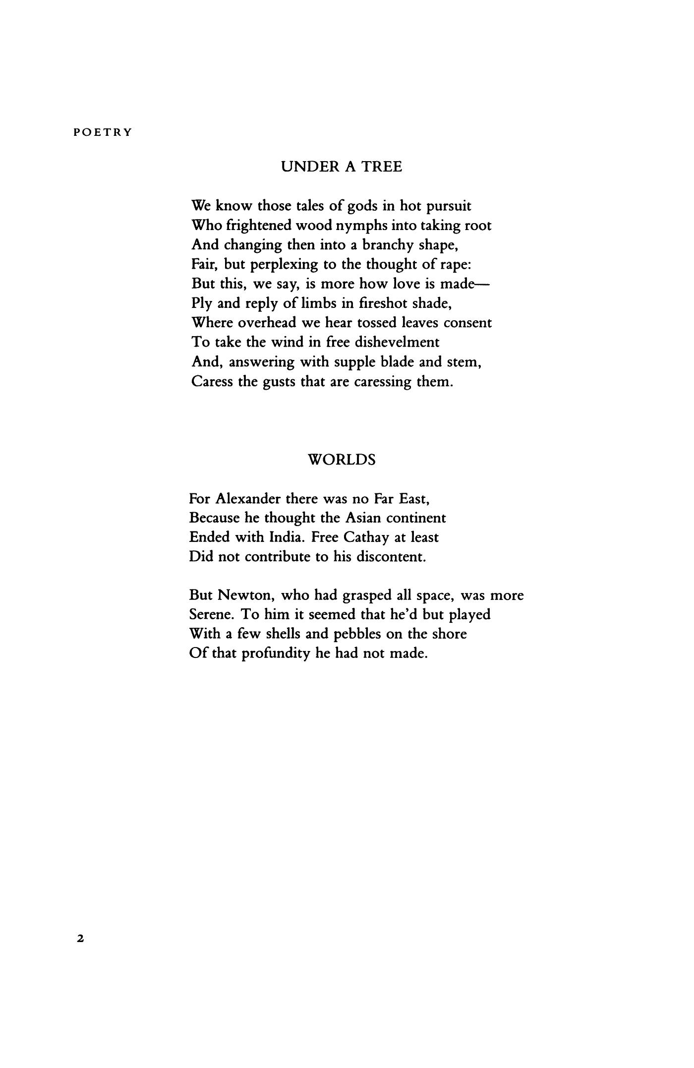 worlds by richard wilbur under a tree by richard wilbur poetry