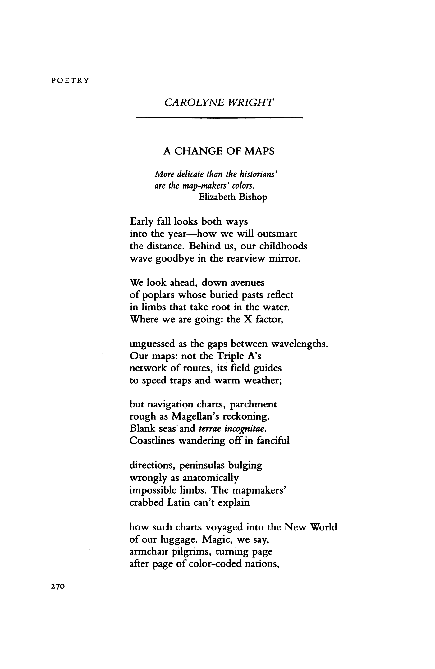 A Change of Maps by Carolyne Wright | Poetry Magazine