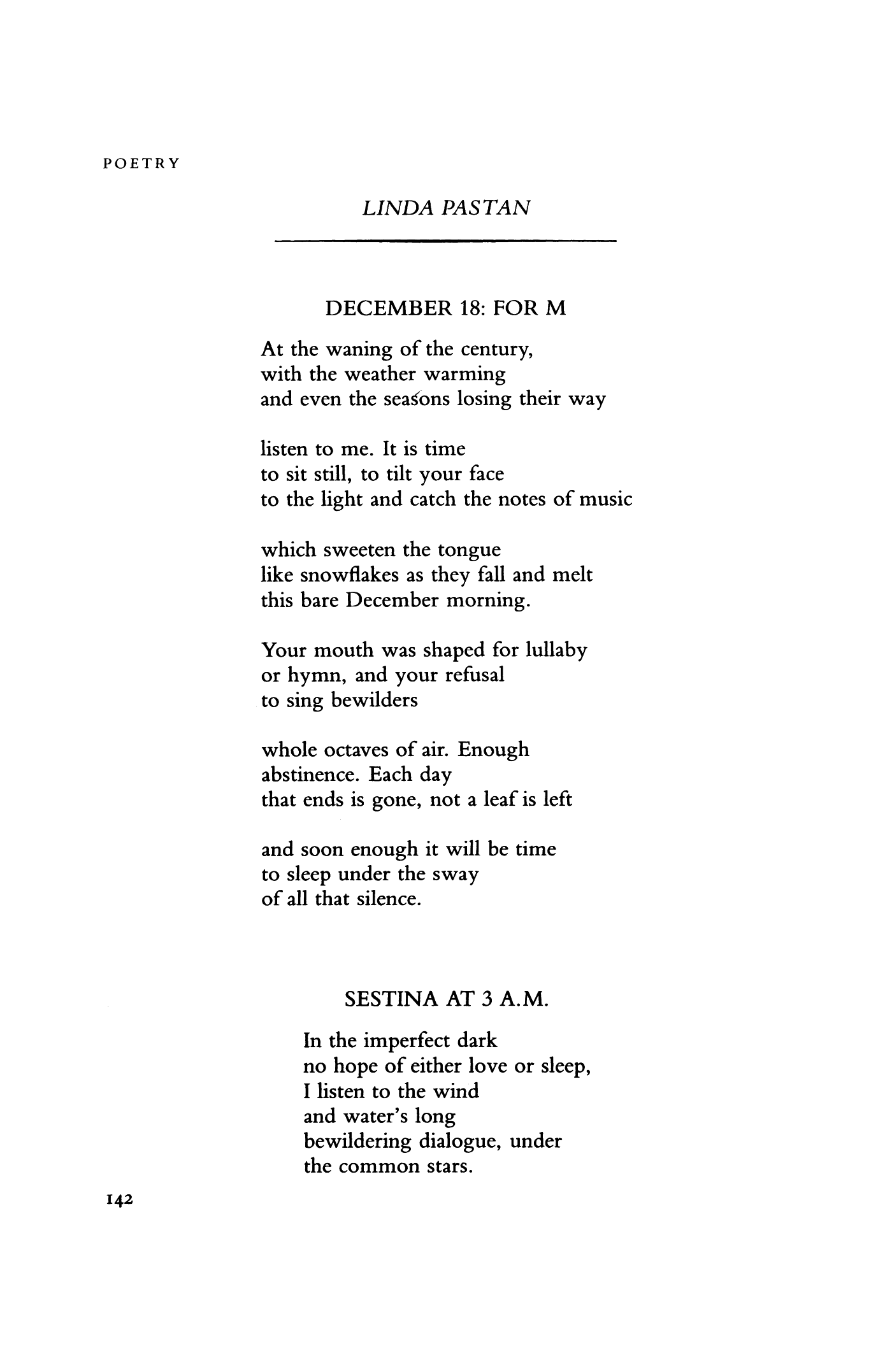 December 18 for m by linda pastan sestina at 3 a m by for 101 great american poems table of contents
