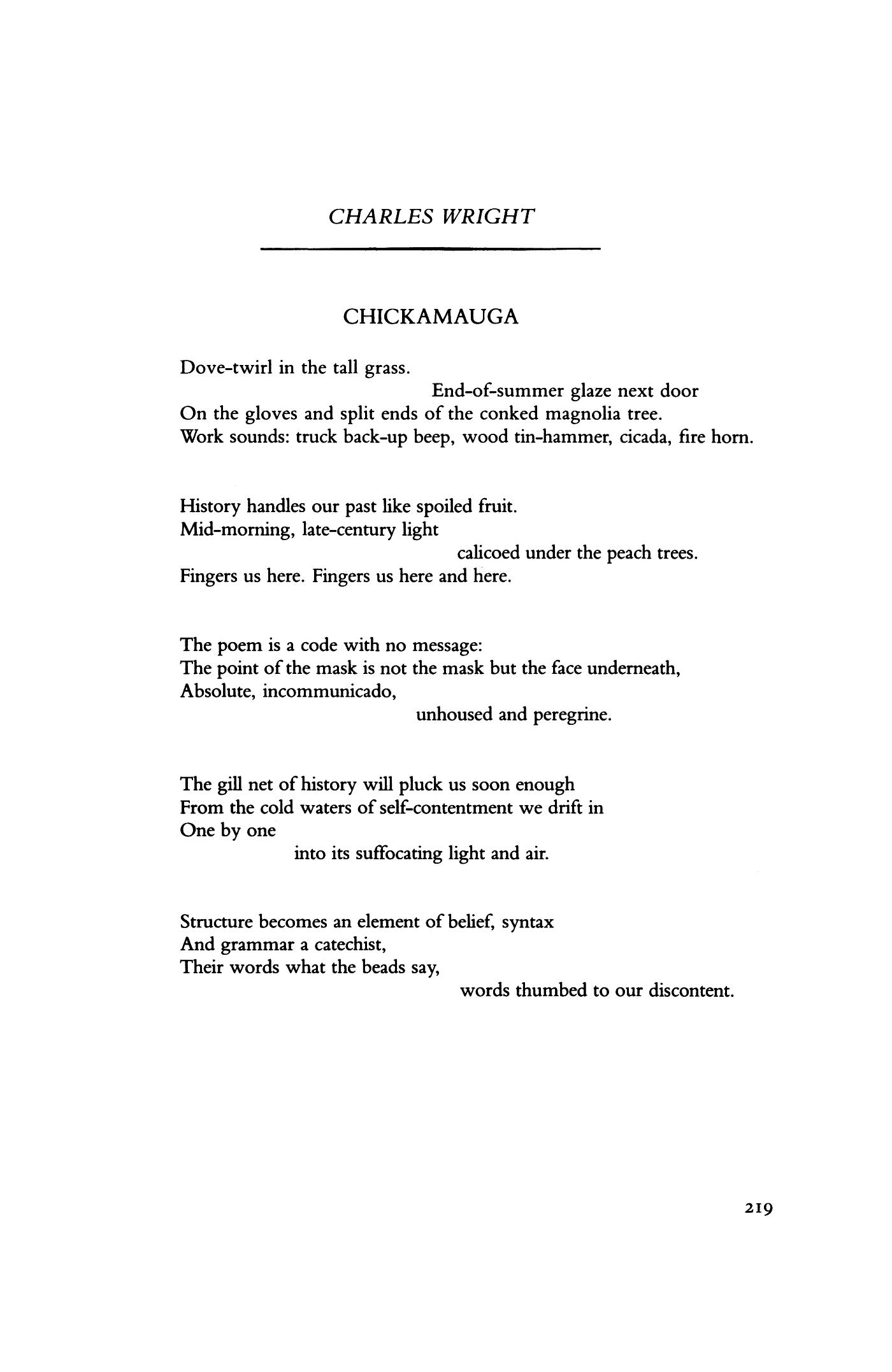 Chickamauga By Charles Wright Poetry Magazine